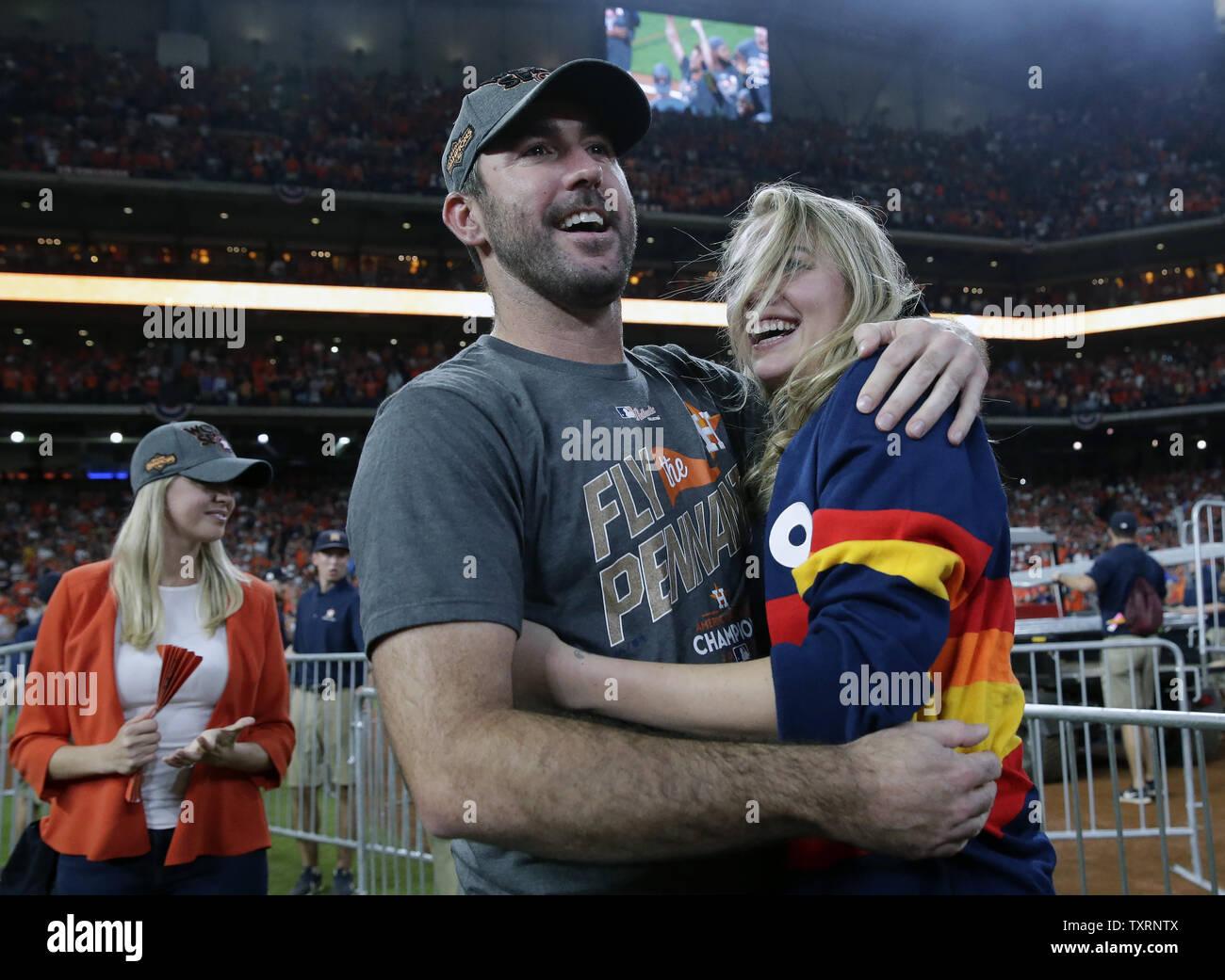 best authentic e028d c01d1 ALCS MVP Houston Astros pitcher Justin Verlander hugs ...