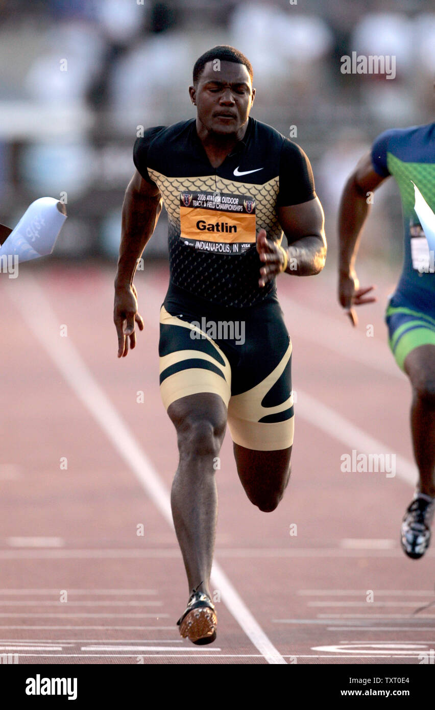 Justin Gatlin wins the men's 100m dash final at the 2006 AT&T USA Outdoor Track & Field Championships at the IUPUI Track & Soccer stadium in Indianapolis, In June 23, 2006. (UPI Photo/Mark Cowan) - Stock Image