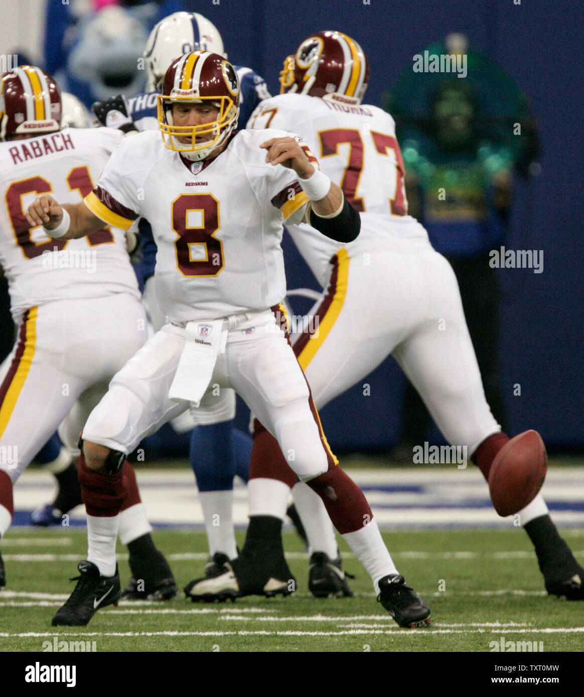 Washington Redskins quarterback Mark Brunell (8) fumbles the ball on the Indianapolis Colts 15-yard line at the RCA Dome in Indianapolis on October 22, 2006. (UPI Photo/Mark Cowan) - Stock Image