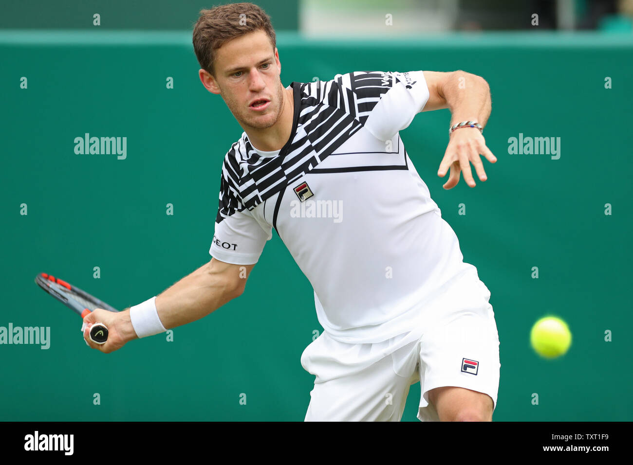 Stoke Poges Slough Berkshire Uk 25th June 2019 Diego Schwartzman Arg Plays A Forehand During The