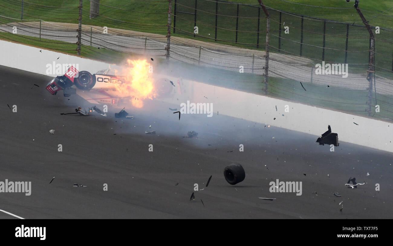 Sebastien Bourdais' race car bursts into flames after