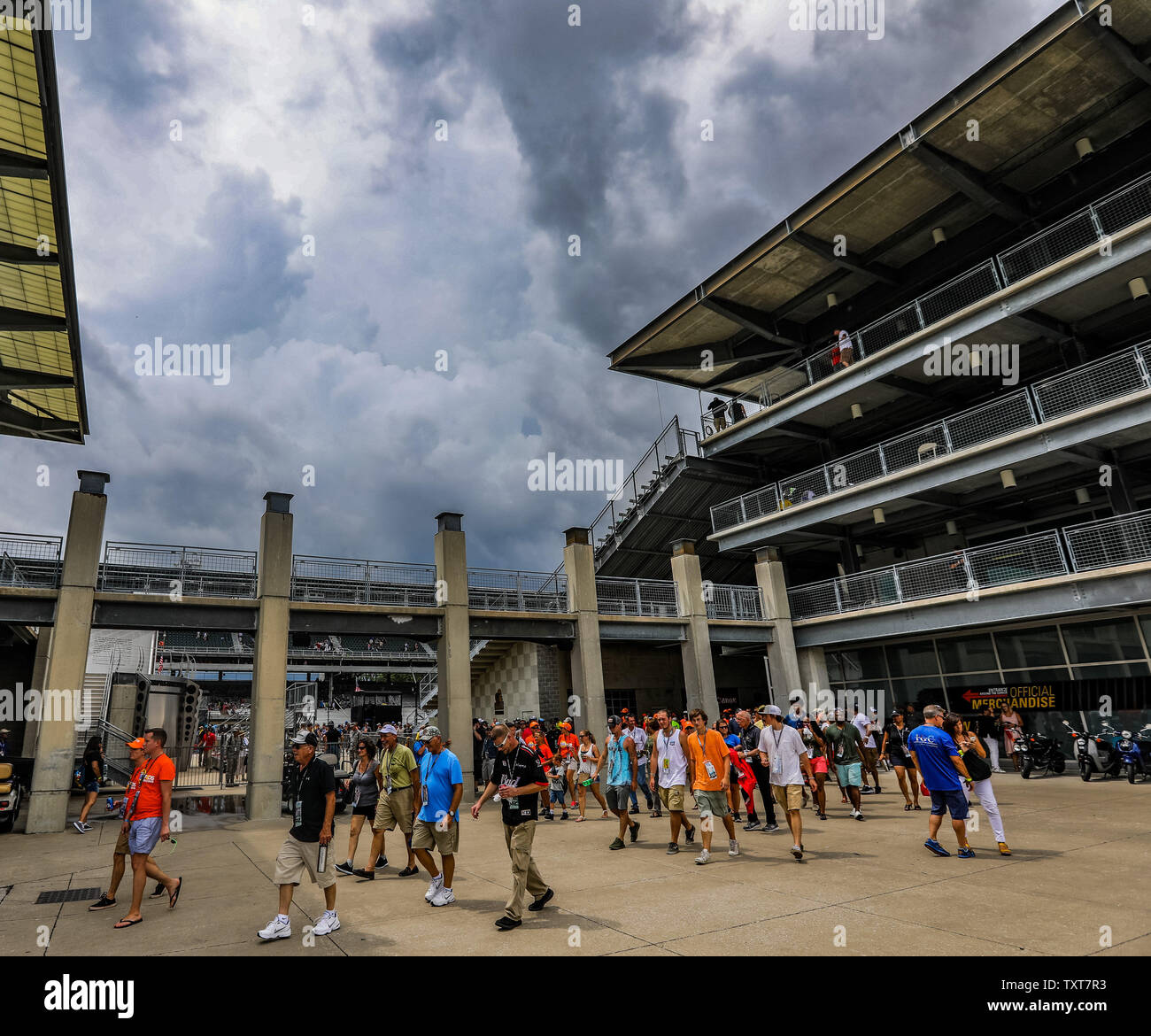 Fans file out of the grandstand as a large thunderstorm approaches shortly after the start of the 2017 Brickyard 400,  at the Indianapolis Motor Speedway on July 23, 2017 in Indianapolis, Indiana. The race has been red flagged till the storm passes. Photo by Edwin Locke/UPI Stock Photo