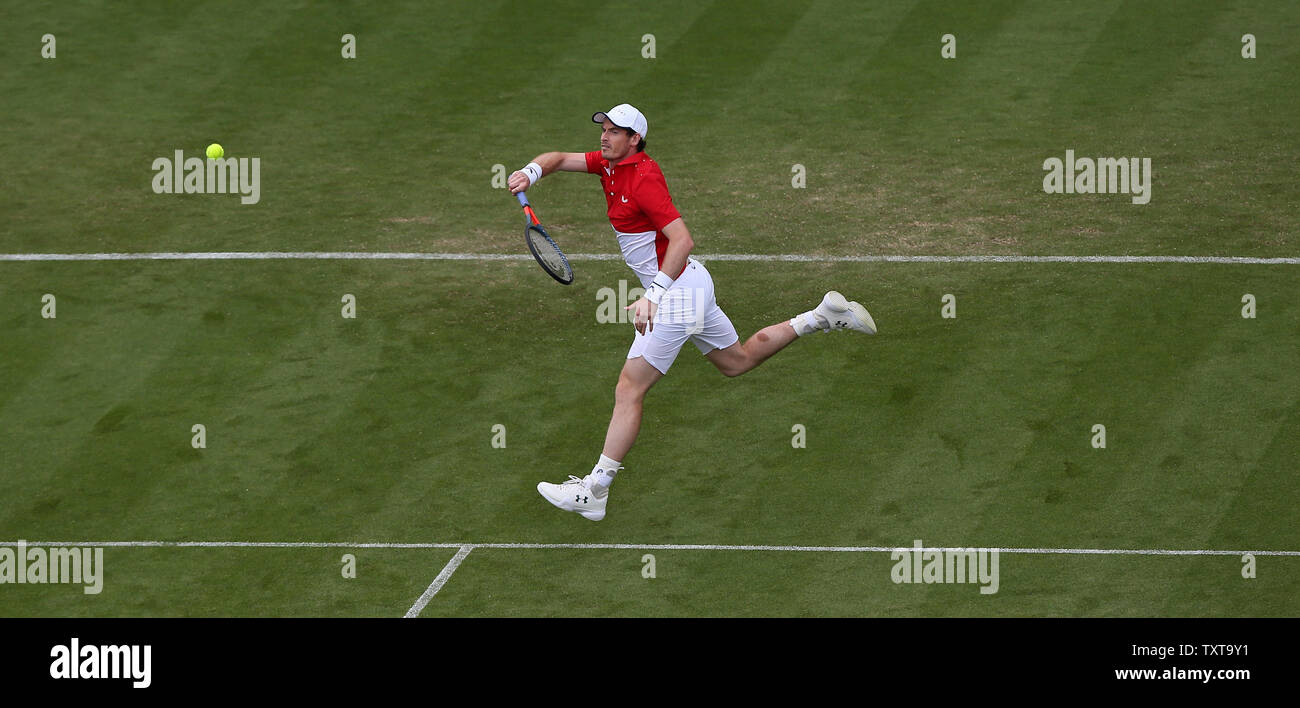 Eastbourne, UK. 25 June 2019 Great Britain's Andy Murray in action with doubles partner Marcelo Melo of Brazil during there doubles match against Columbian's Juan Sebastian Cabal and Robert Farah on day four of the Nature Valley International at Devonshire Park. Credit: James Boardman / TPI / Alamy Live News - Stock Image