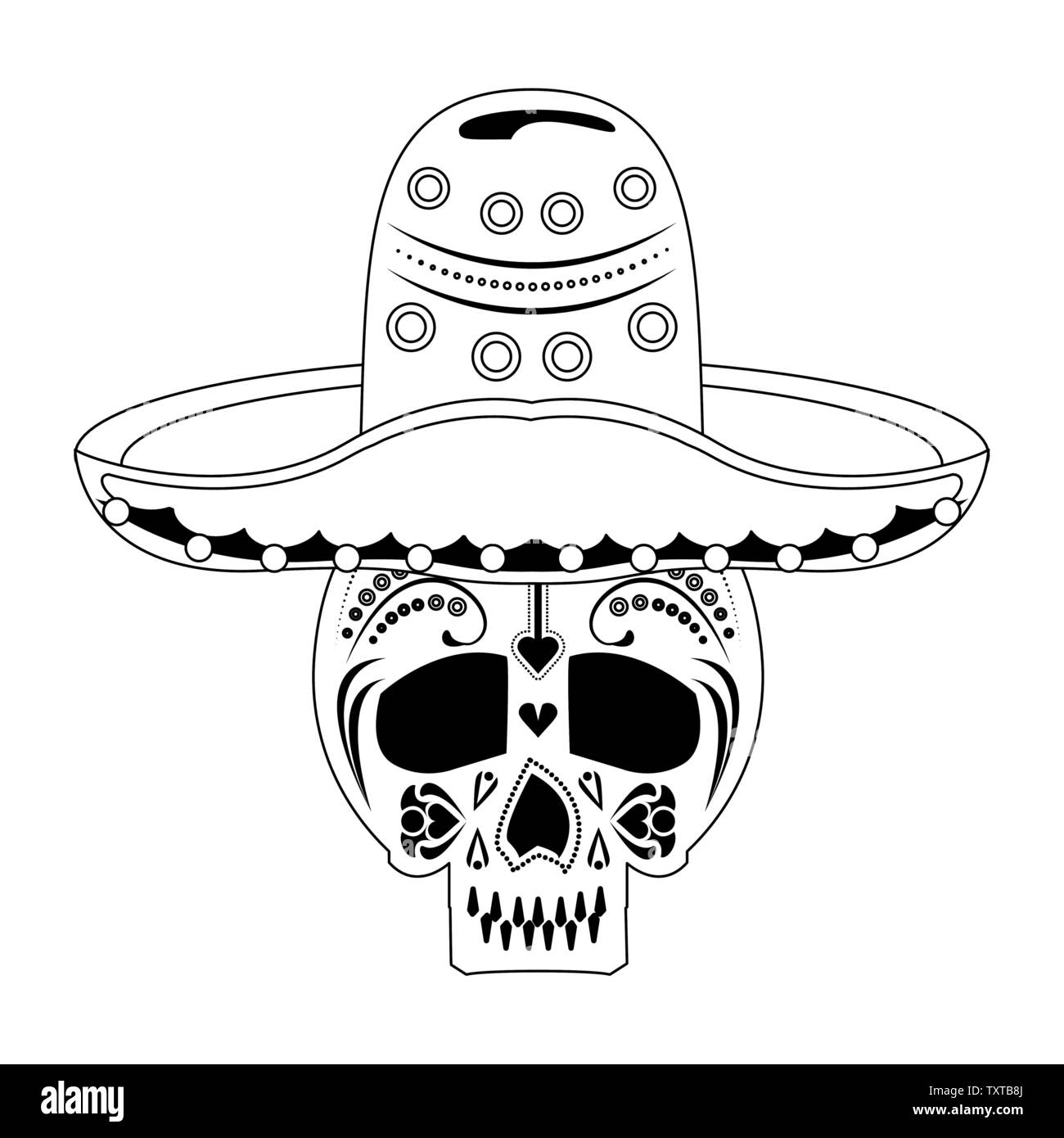 Mexico festival and mexican celebrations cartoons in black and white - Stock Image