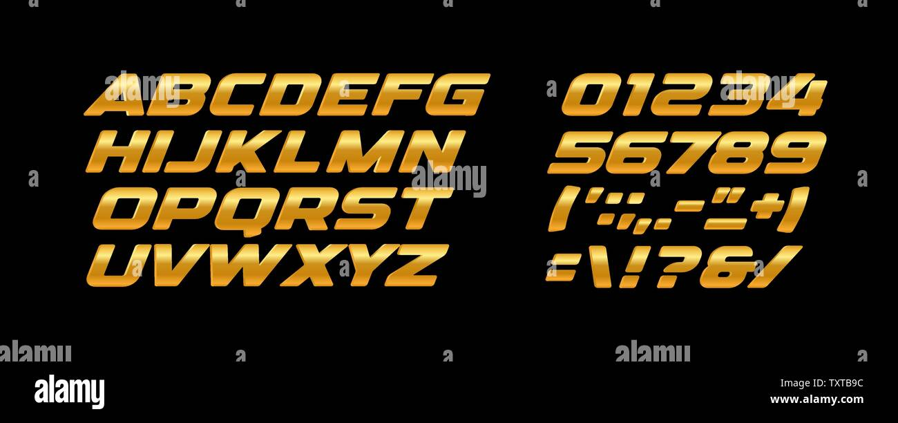 Premium bold letters and numbers set. Golden texture, yellow and orange color, gold metal style vector latin alphabet. Typography design. - Stock Image