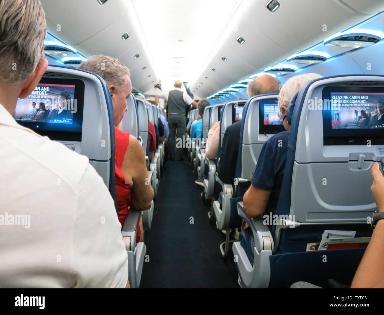 Passenger Cabin on a Delta Airline Flight, USA Stock Photo