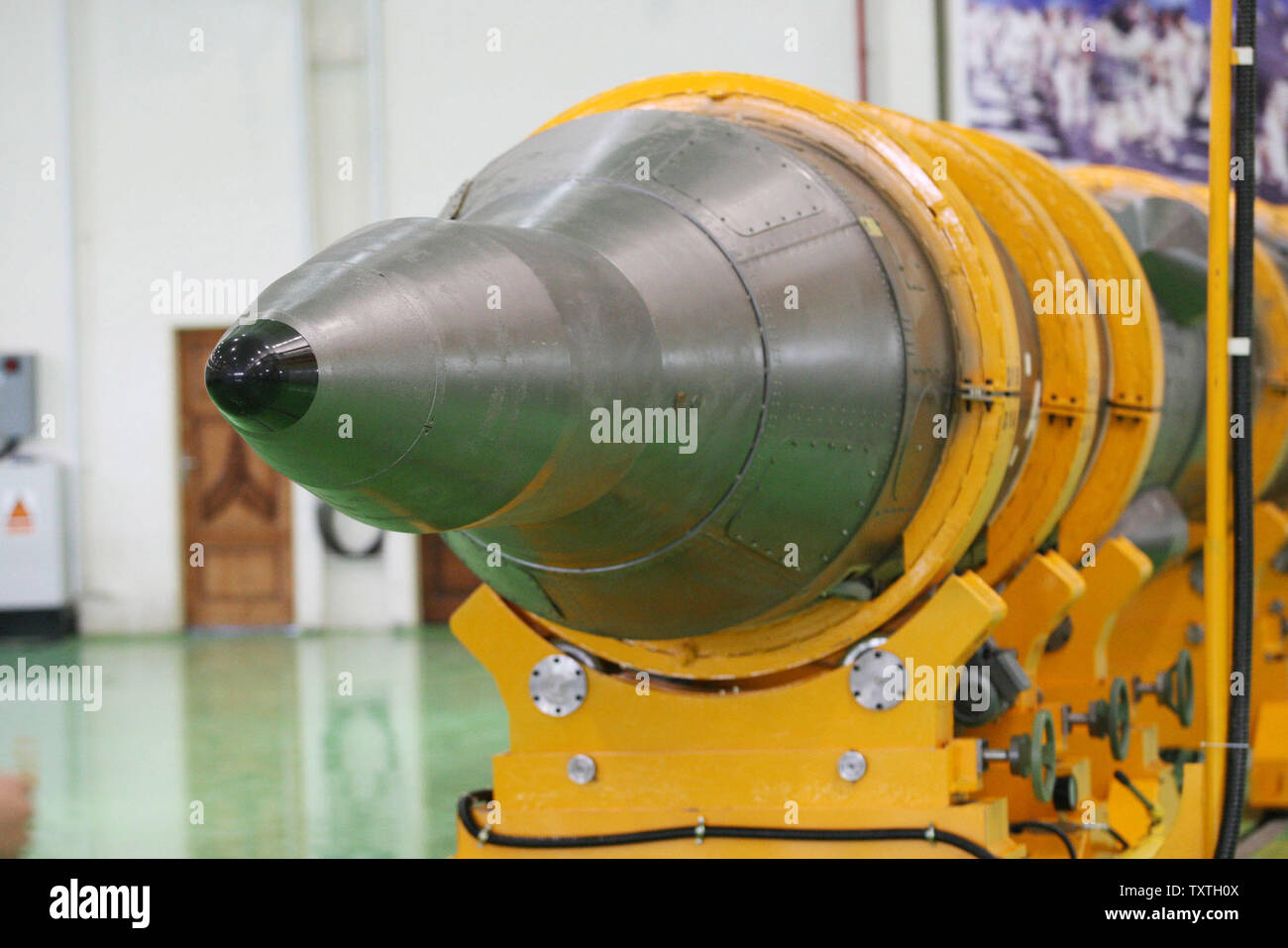 Iran's missile Sejil 2 is seen before its launch by Iranian armed