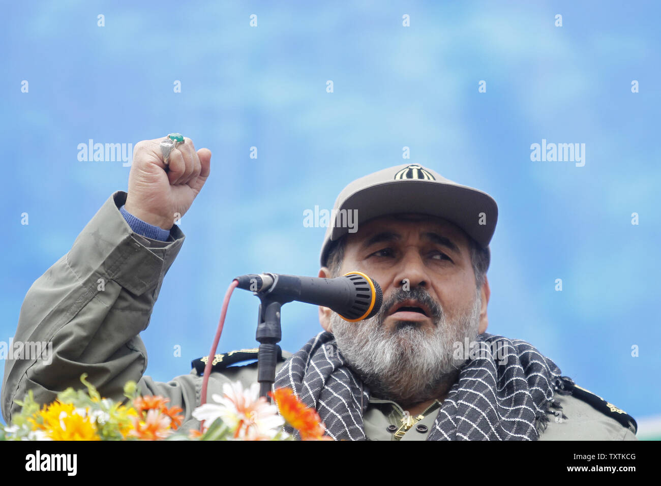Chairman of the Joint Chiefs of Staff of Iran's Armed Forces Major General Hassan Firouzabadi speaks during a rally marking Basij week in front of the former U.S. Embassy in Tehran, Iran on November 25, 2011.     UPI/Maryam Rahmanian - Stock Image