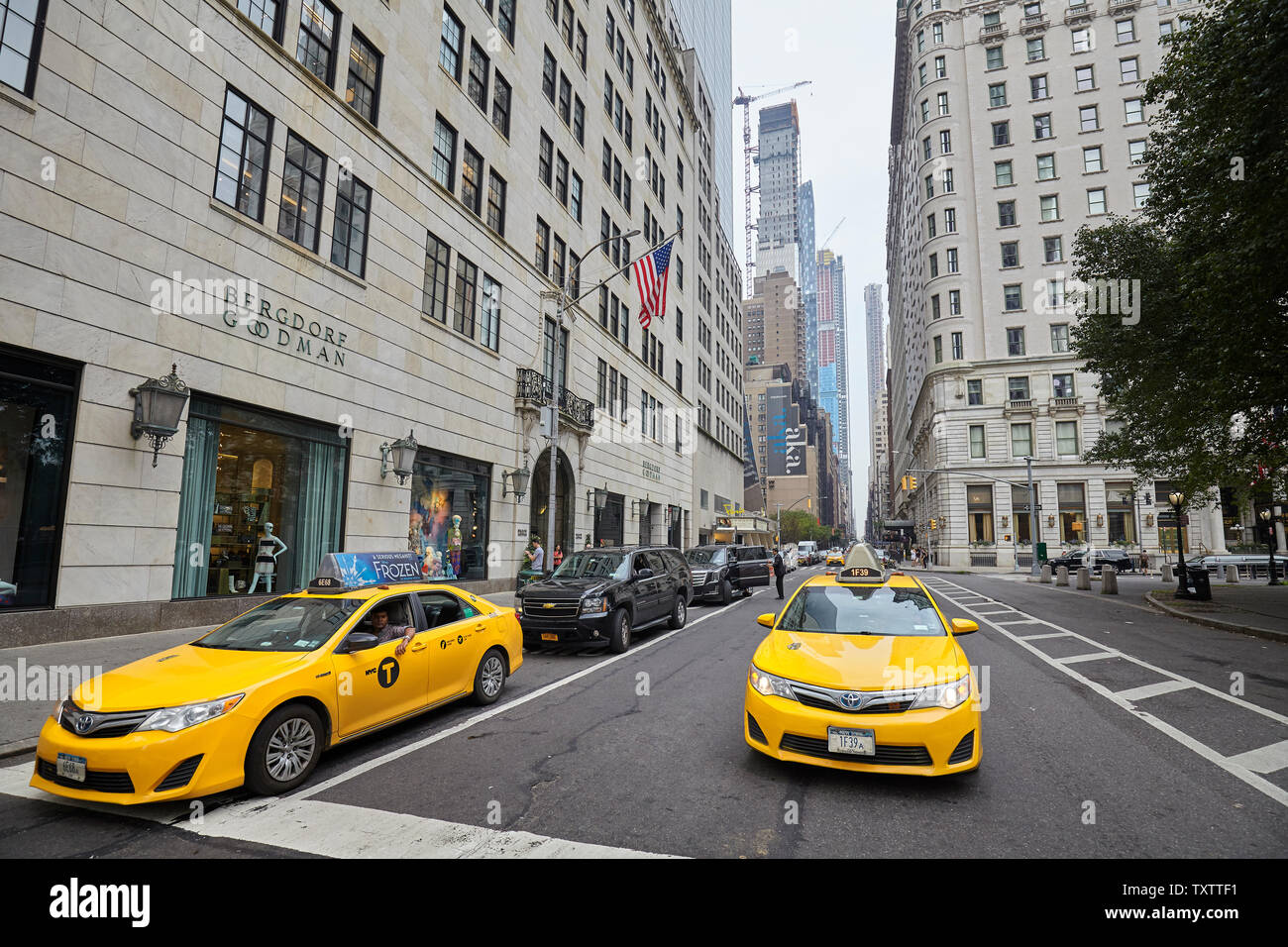 New York, USA - July 04, 2018: New York medallion taxicab vehicles on a street of Manhattan. - Stock Image