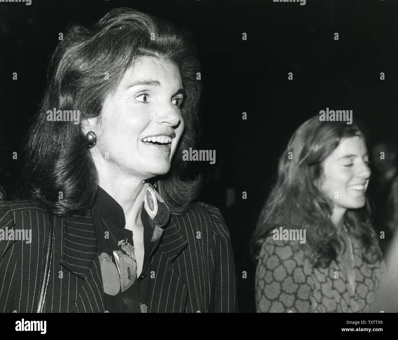 Jacqueline Kennedy Onassis is seen backstage at the Circle in the Square after a performance of The Bacchae on September 16, 1980 in New York City. UPI Stock Photo