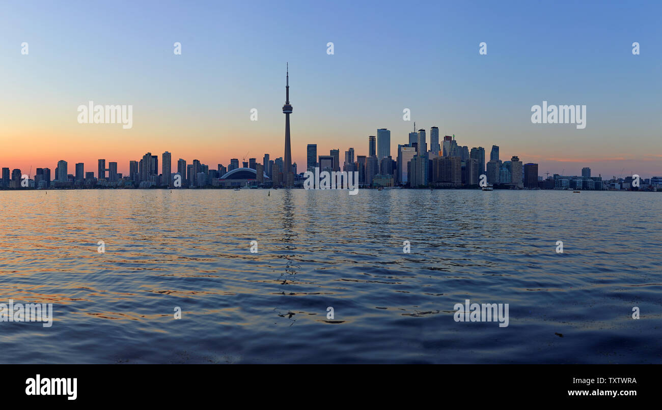 Skyline of Toronto with the iconic CN Tower, Ontario, Canada Stock Photo