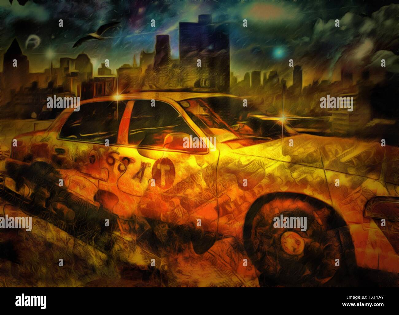 Surreal painting. New York taxi or Yellow Cab - Stock Image