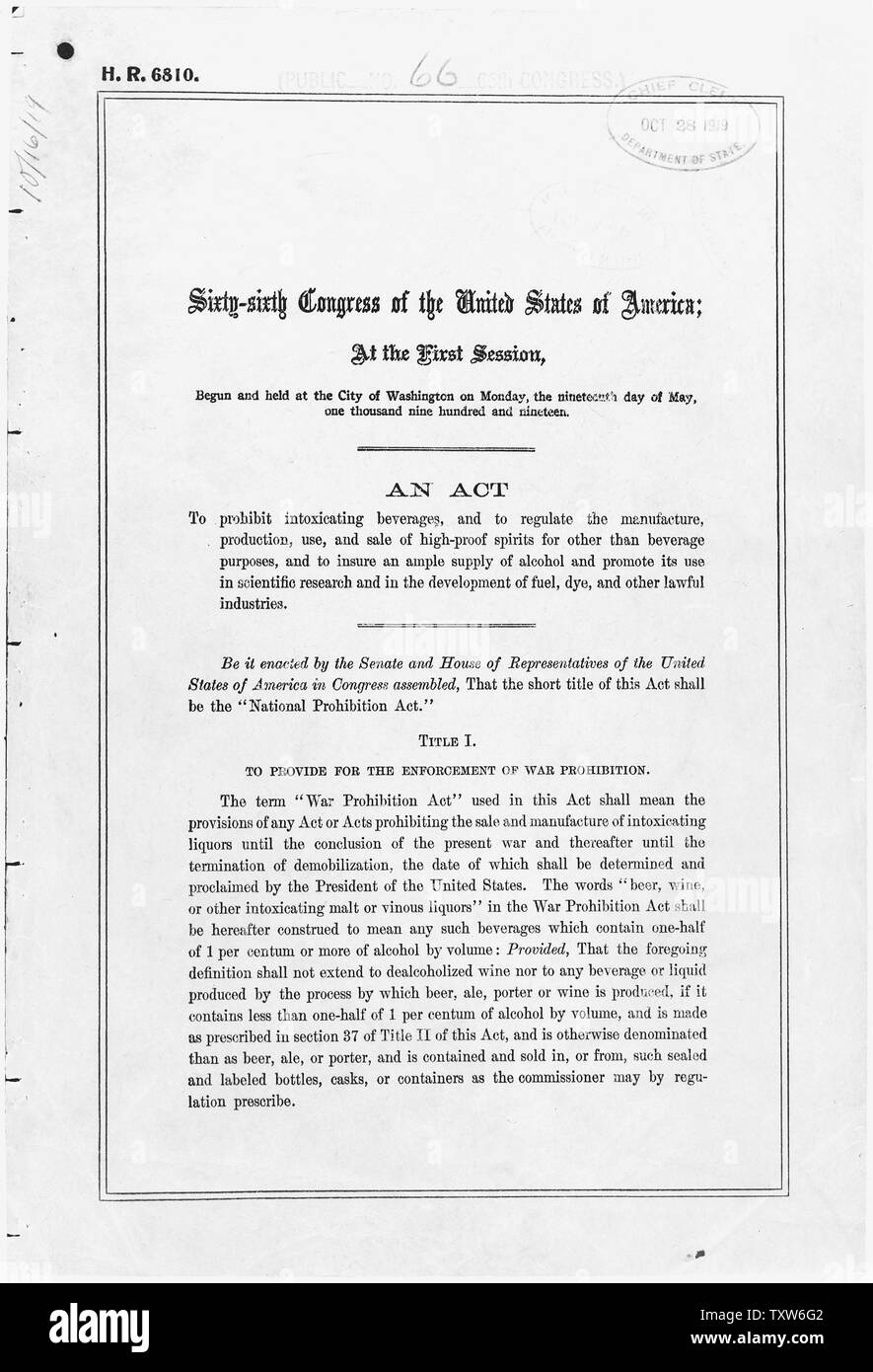 Act of October 28, 1919 [Volstead Act]; Scope and content:  The Volstead Act implemented and provided an enforcement apparatus for the Eighteenth Amendment, which forbade the manufacture, transportation, and sale of intoxicating beverages. Circumvention of the law led to bootlegging and the rise of organized crime. General notes:  The text of all federal laws is published in the U.S. Statutes at Large, a multivolume publication at libraries nationwide. The Volstead Act is found in volume 41 of Statutes at Large, pp. 305-323 (41 Stat. 305). Exhibit History: The Written Word Endures, April 1976 Stock Photo