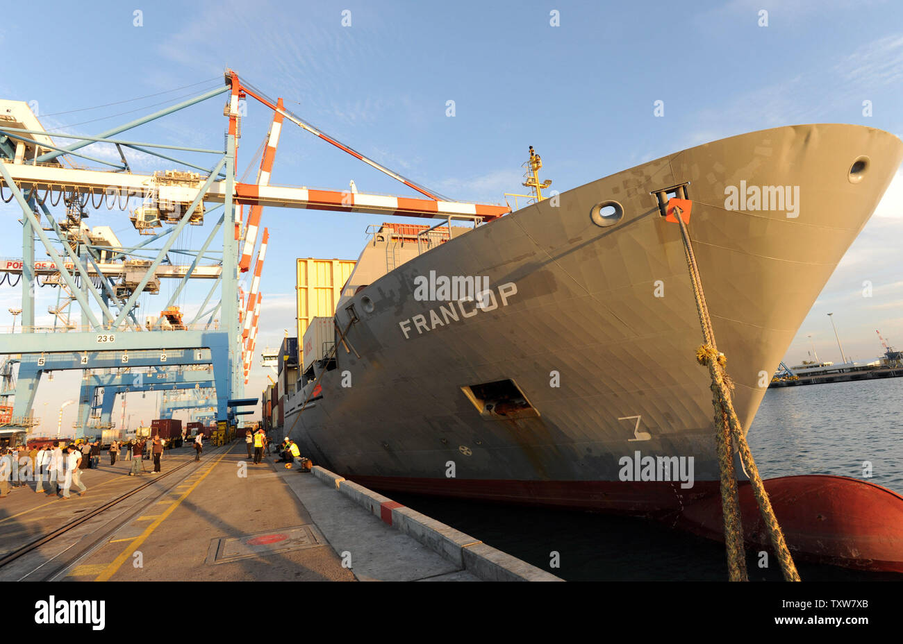 The Antiqua-flagged Francop vessel carrying Iranian supplied arms is docked at the Ashdod Port on November 4, 2009. The ship was seized by Israeli commandos in the Mediterranean Sea carrying hundreds of tons of Iranian supplied arms bound for Syria. UPI/Debbie Hill Stock Photo