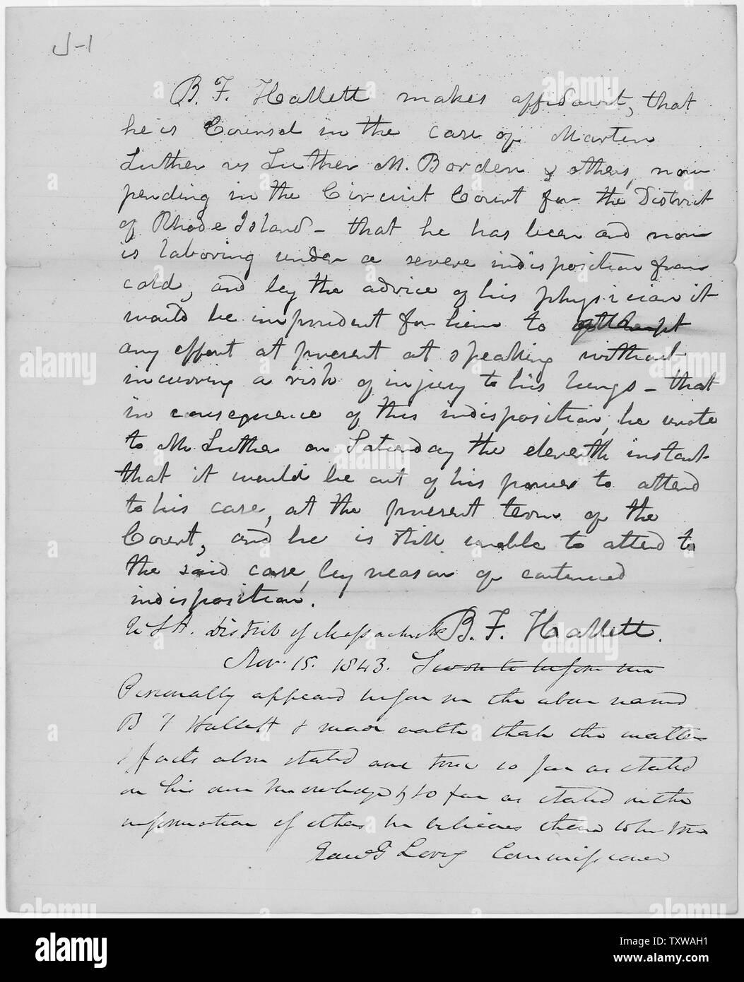 Affidavit of B F  Hallett in the case of Martin Luther v