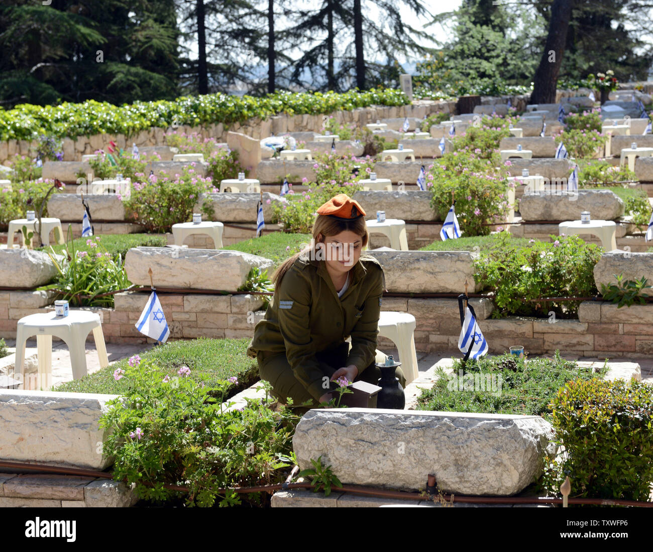 An Israeli soldier decorates the graves of fallen soldiers with national flags with black ribbons for Remembrance Day at the Mt. Herzl Military Cemetery in Jerusalem, Israel, April 14, 2013. Israel's Remembrance Day for fallen soldiers begins at sunset with a one minute siren.  UPI/Debbie Hill Stock Photo