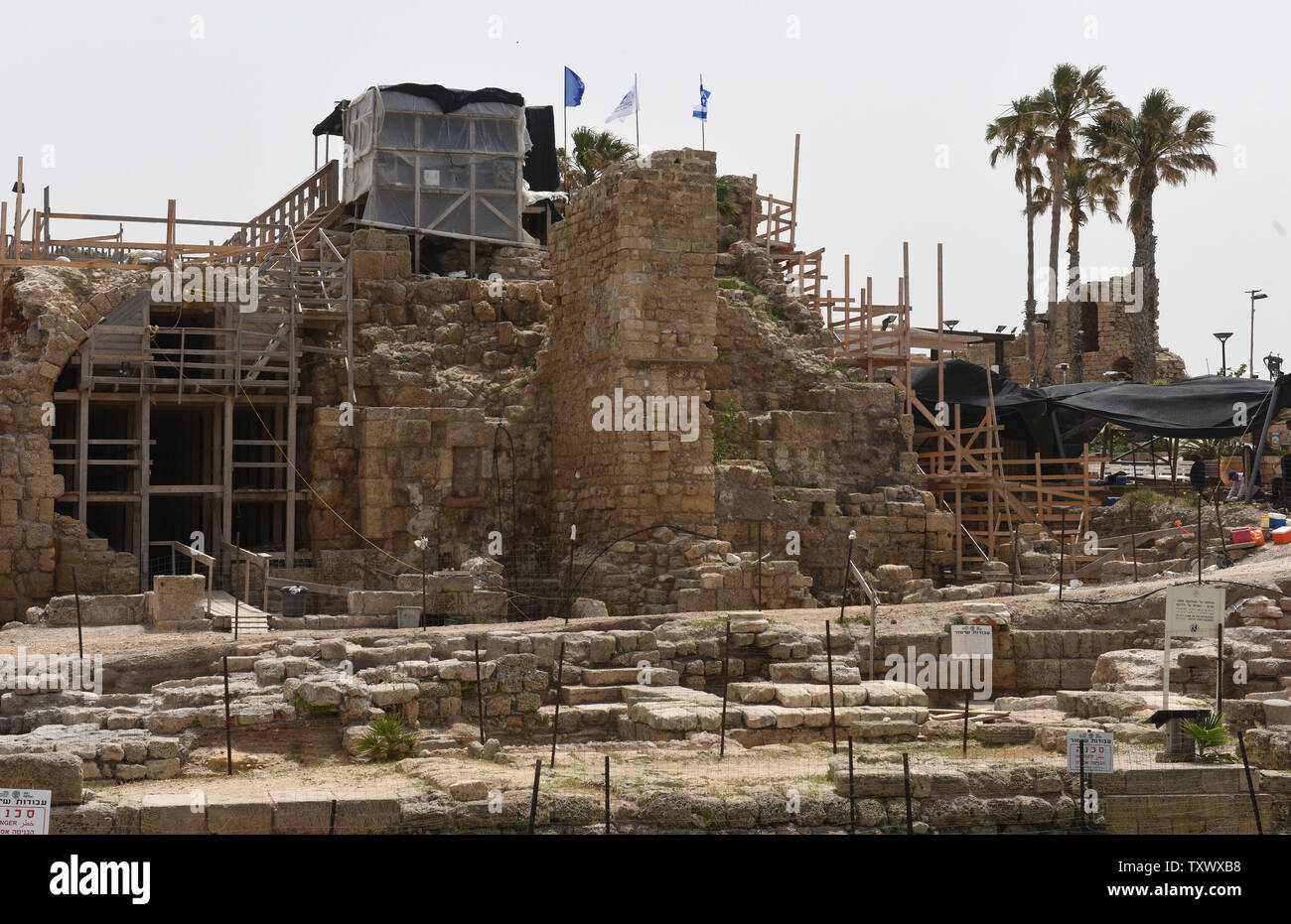 A view of the 'Roma and Augusta Temple' that is being excavated by the Israeli Antiquity Authority in Caesarea, Israel, April 26, 2017. The Temple was constructed in the first century by King Herod in honor of Augustus Caesar. The Edmond de Rothschild Foundations is investing approximately $275,000 to expose and restore Caesarea's hidden treasures.  Photo by Debbie Hill/UPI - Stock Image