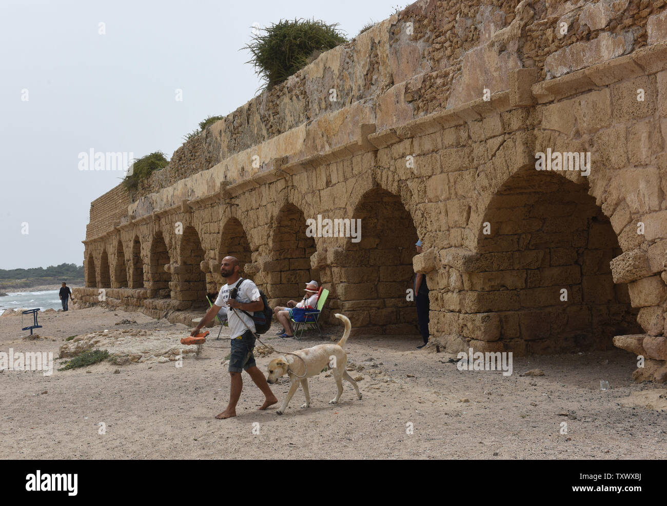 An Israeli walks his dog near the aqueduct in Caesarea, Israel, April 26, 2017. The Edmond de Rothschild Foundations is investing approximately $275,000 to expose and restore Caesarea's hidden treasures.  Photo by Debbie Hill/UPI - Stock Image