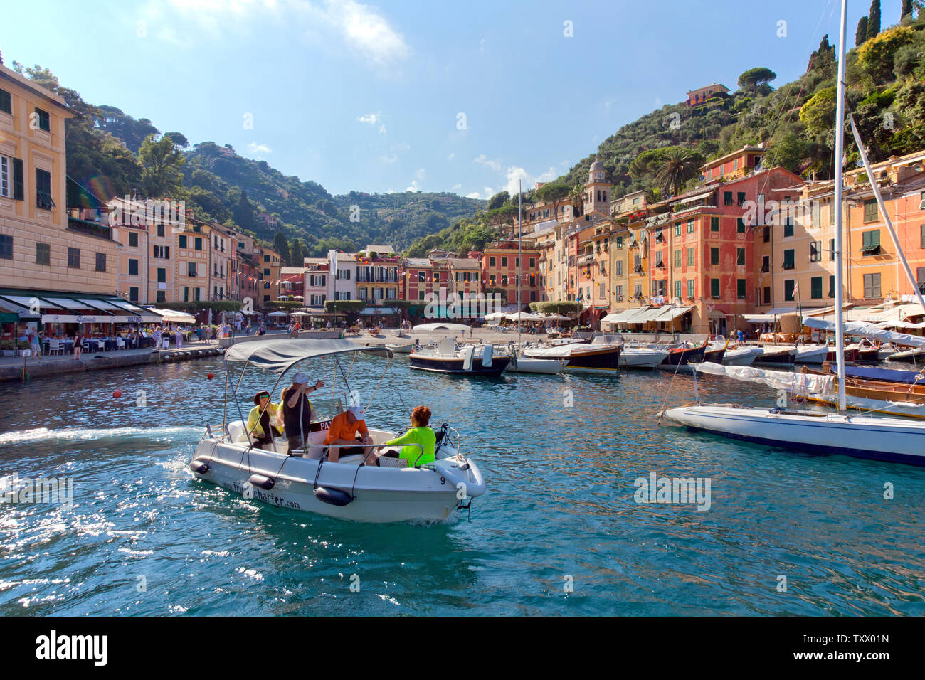 This Italian fishing village and holiday resort is famous for its picturesque harbour and historical association with celebrity and artistic visitors. - Stock Image
