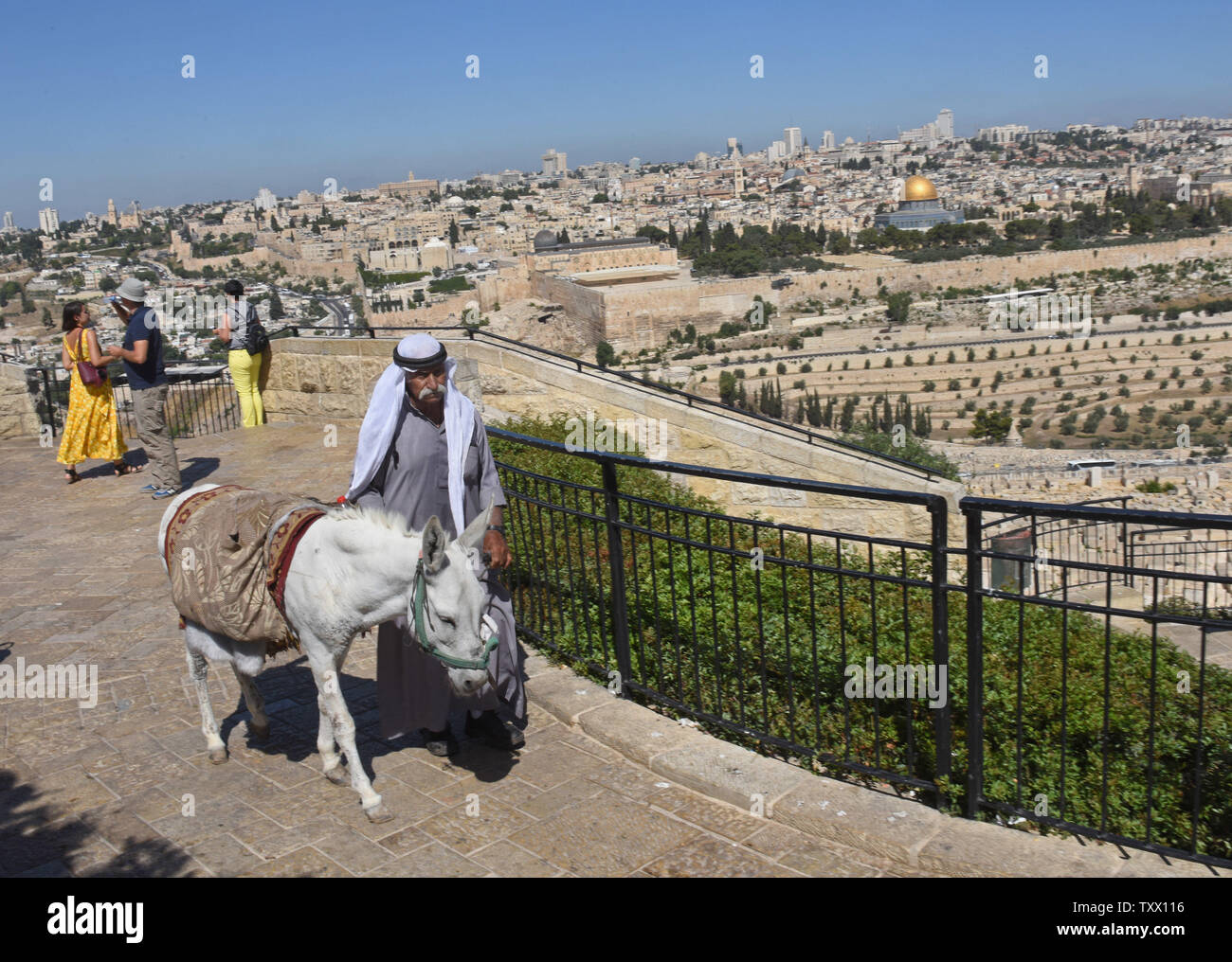 A Palestinians walk with a donkey on the Mt. of Olives, overlooking the Old City of Jerusalem, June 25, 2018. Prince William will  receive a briefing on the history and geography of Jerusalem's Old City from the Mt. of Olives this week, on the first state visit to the Holy Land by a member of the royal family. Israeli ministers slammed Prince William's official itinerary because it describes the Old City of Jerusalem as being in Occupied Palestinian Territories.  Photo by Debbie Hill/UPI - Stock Image
