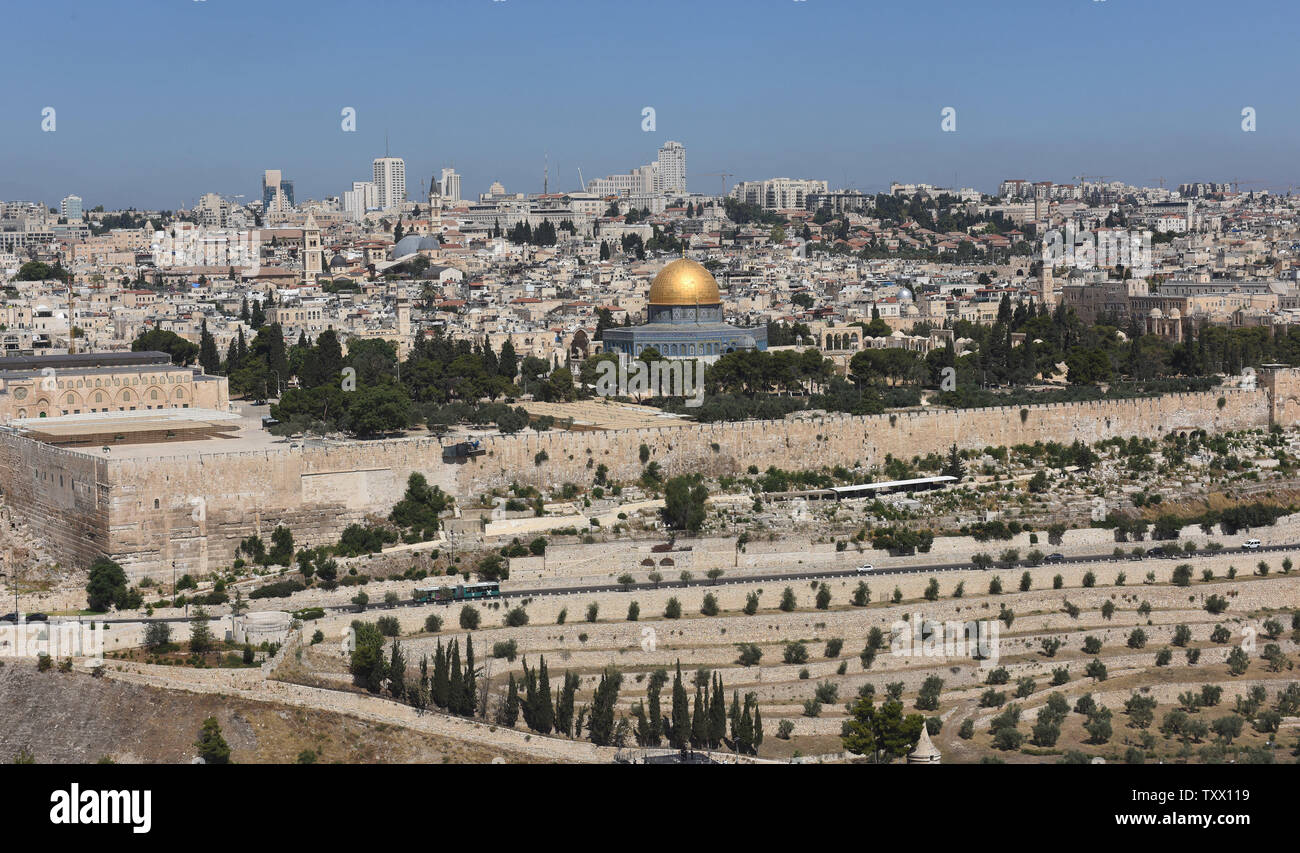 An overview of  Old City of Jerusalem from the Mt. of Olives, in East Jerusalem, June 25, 2018. Prince William will  receive a briefing on the history and geography of Jerusalem's Old City from the Mt. of Olives this week, on the first state visit to the Holy Land by a member of the royal family. Israeli ministers slammed Prince William's official itinerary because it describes the Old City of Jerusalem as being in Occupied Palestinian Territories.  Photo by Debbie Hill/UPI - Stock Image