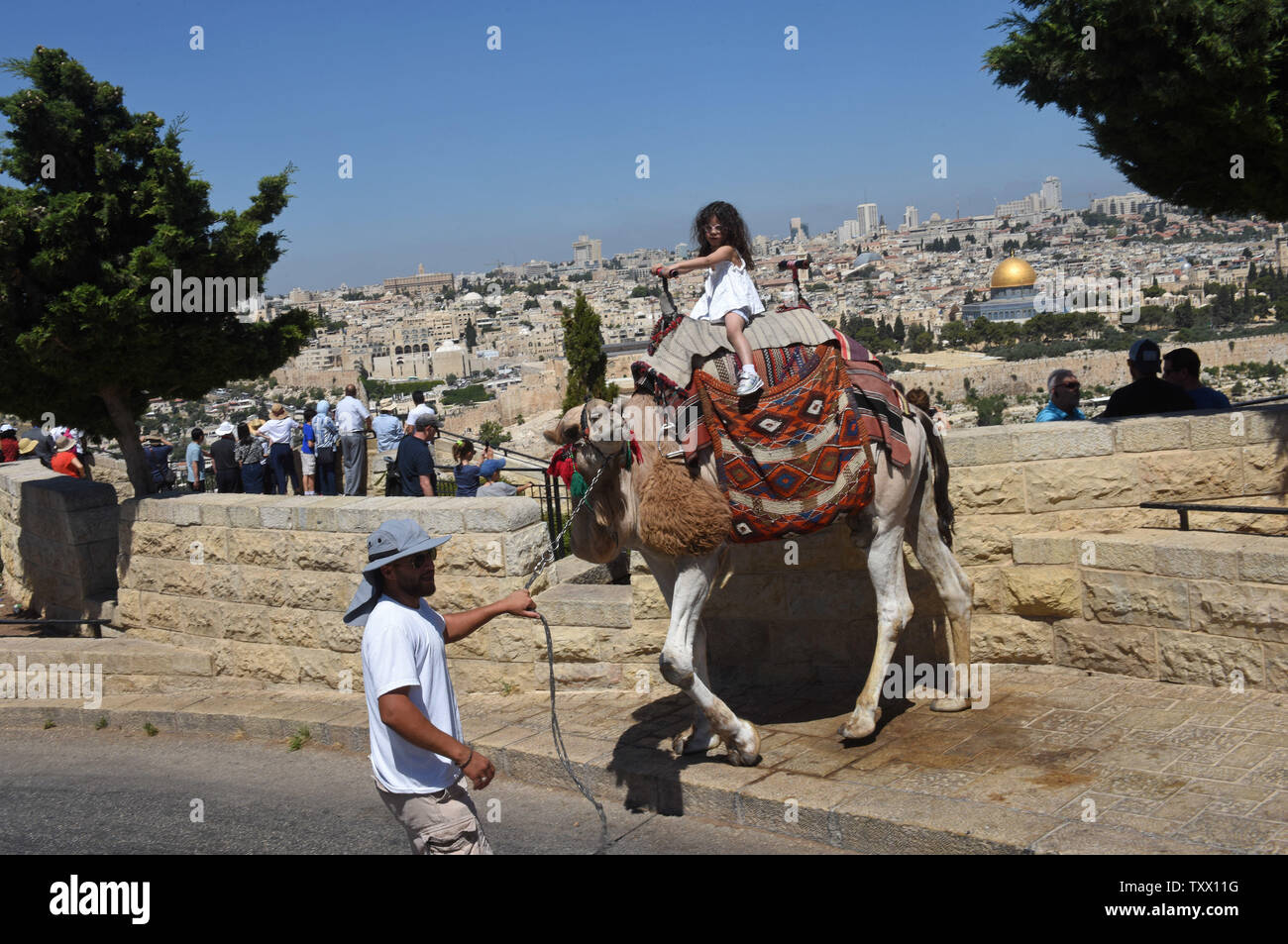 A Palestinian girl rides a donkey on the Mt. of Olives, overlooking the Old City of Jerusalem, June 25, 2018. Prince William will  receive a briefing on the history and geography of Jerusalem's Old City from the Mt. of Olives this week, on the first state visit to the Holy Land by a member of the royal family. Israeli ministers slammed Prince William's official itinerary because it describes the Old City of Jerusalem as being in Occupied Palestinian Territories.  Photo by Debbie Hill/UPI - Stock Image