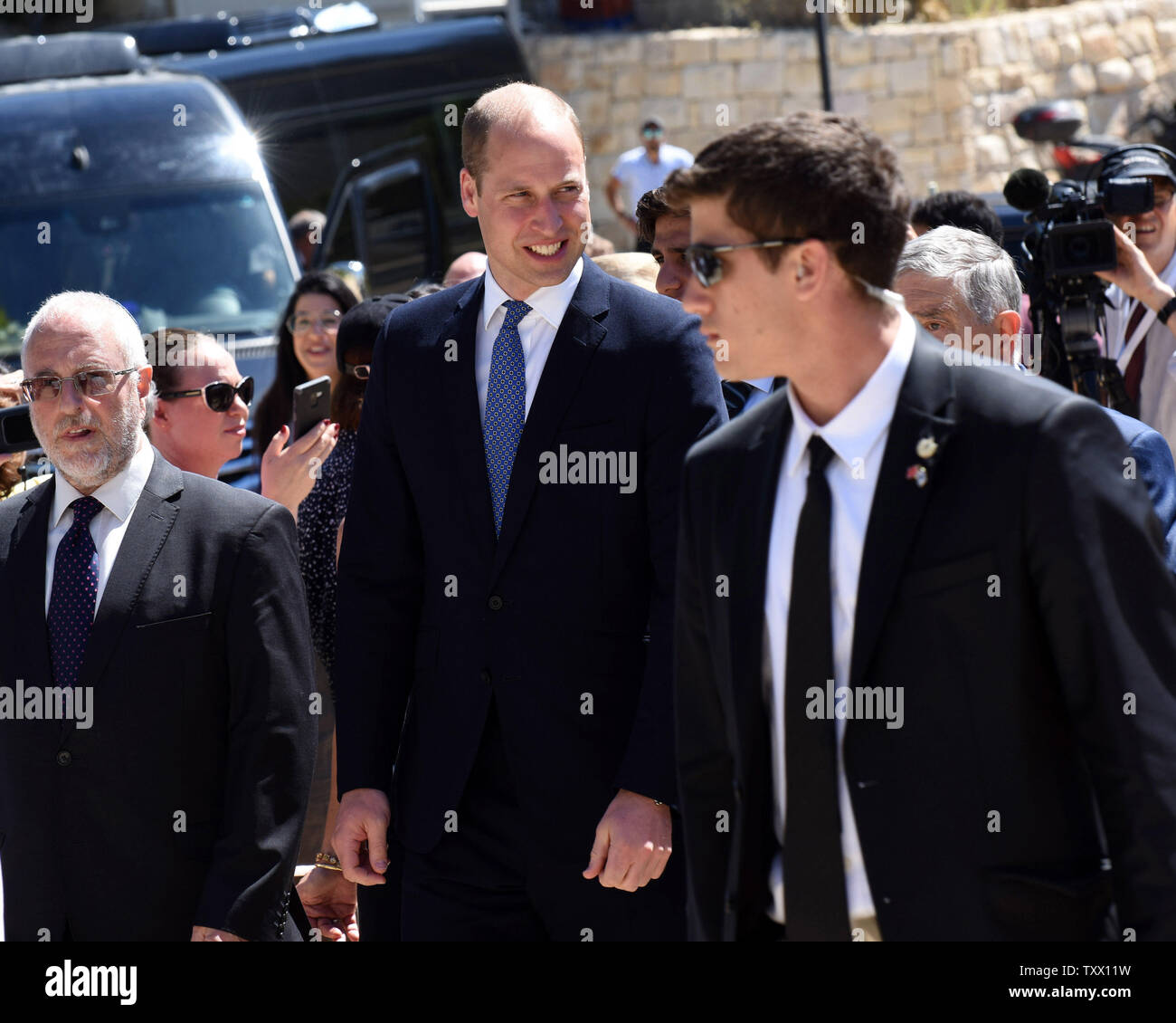 Prince William, the Duke of Cambridge, arrives to Yad Vashem, the World Holocaust Remembrance Center, in Jerusalem, Israel, June 26, 2018.  Photo by Debbie Hill/UPI - Stock Image