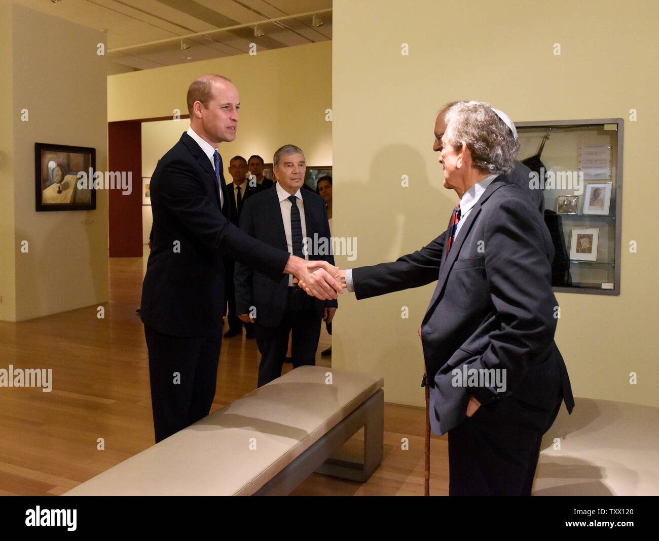 Prince William, the Duke of Cambridge, meets Holocaust survivors during a tour of  Yad Vashem, the World Holocaust Remembrance Center, in Jerusalem, Israel, June 26, 2018. The survivors, Paul Alexander and Henry Foner, were spared destruction as Jewish children in Germany, as Britain took them with thousands of others in the so-called 'Kindertransport'. Photo by Debbie Hill/UPI - Stock Image