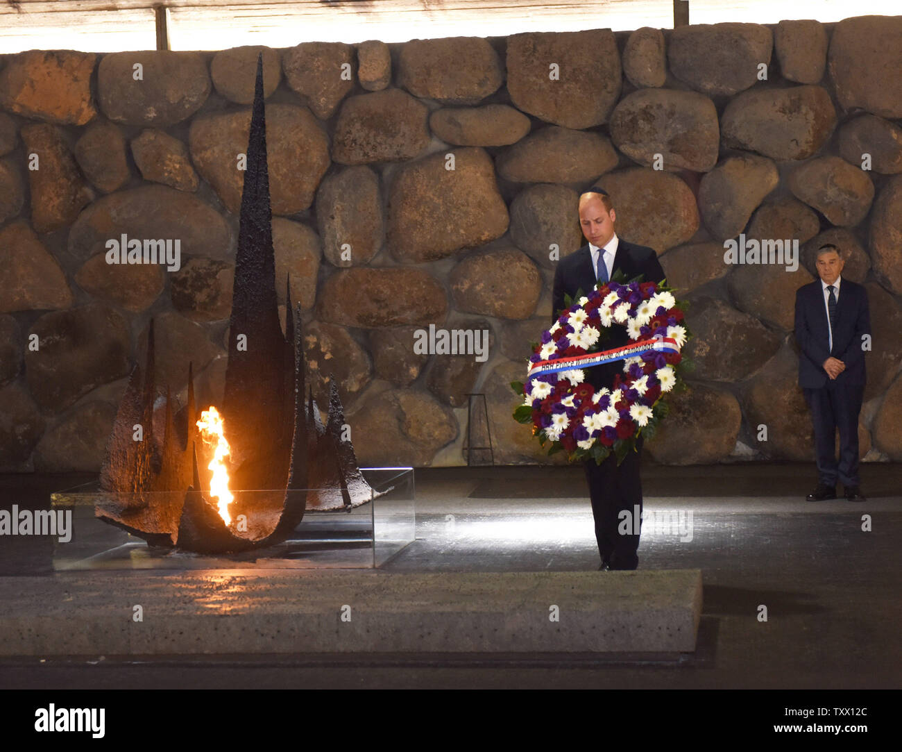 Prince William, the Duke of Cambridge, lays a wreath during a memorial ceremony in the Hall of Remembrance at Yad Vashem, the World Holocaust Remembrance Center, in Jerusalem, Israel, June 26, 2018.  Photo by Debbie Hill/UPI - Stock Image