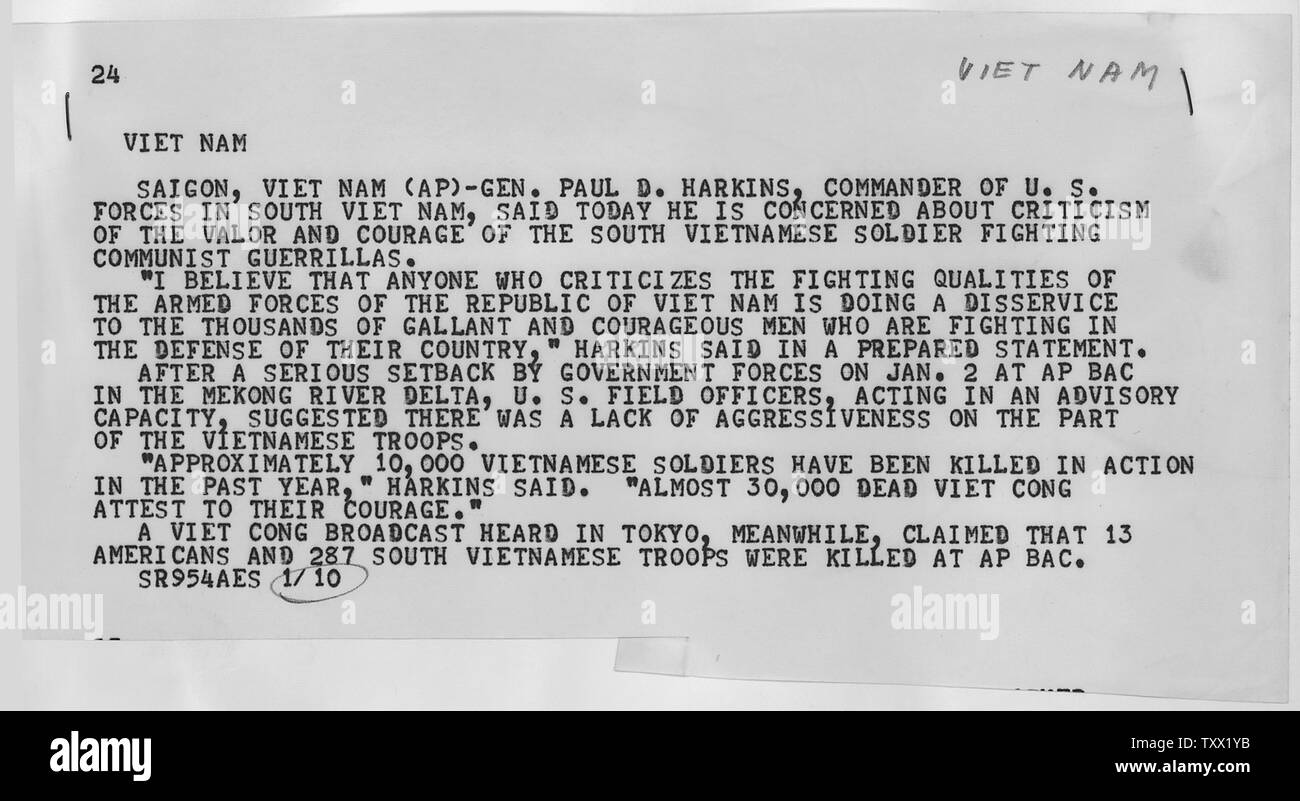 Associated Press Wire Report on Vietnam; Scope and content:  Asscociated Press report on a statement by General Harkins concerning the fighting ability of the South Vietnam Forces. - Stock Image