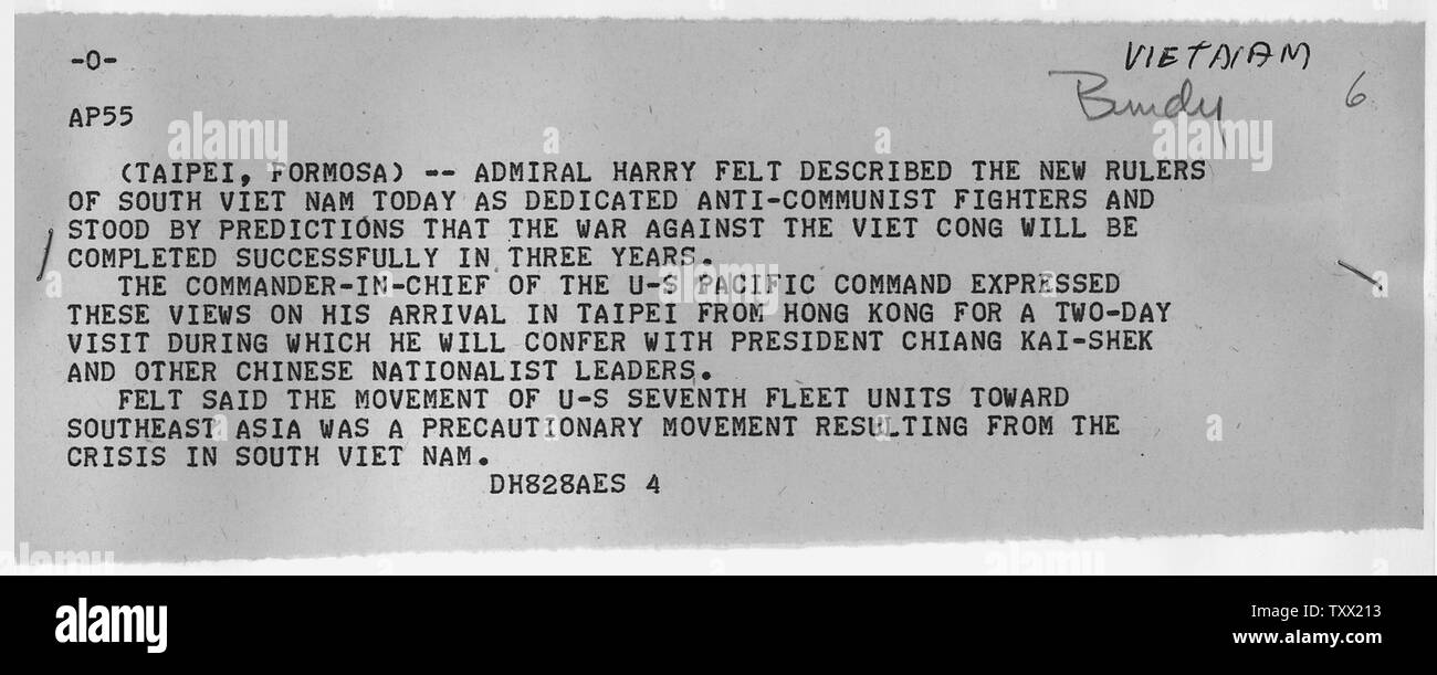 Associated Press Wire Report on Statement by Admiral Felt; Scope and content:  Associated Press report on statement by Admiral Harry Felt concerning the new rulers in Vietnam. - Stock Image