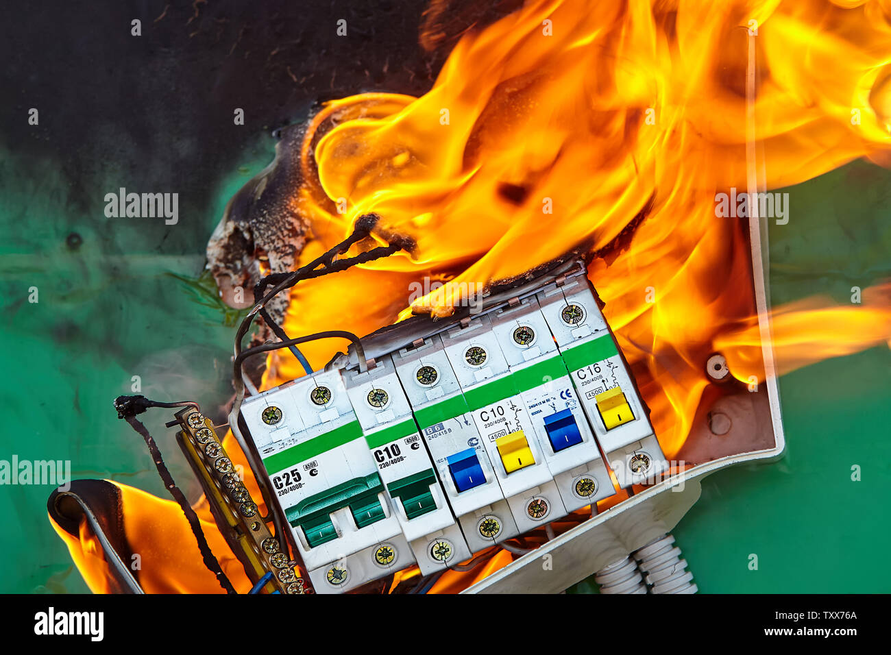 bad electrical wiring systems in electrical panel became the caused of  fire  - stock image