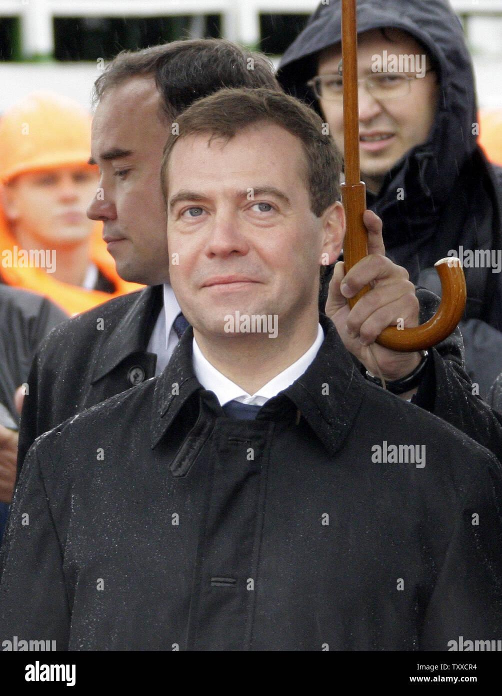 President Dmitry Medvedev visits the 'St. George the Victor' nuclear powered submarine at the Russian Pacific Fleet submarine base at Krasheninnikov Harbor on the Kamchatka Peninsula in the Russian Far East on September 25, 2008. (UPI Photo/Anatoli Zhdanov) - Stock Image