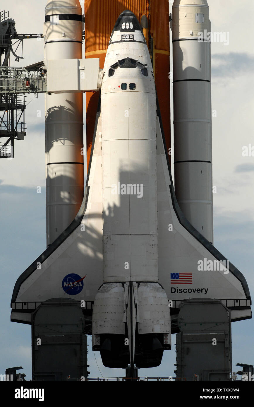 NASA's Space Shuttle Discovery is seen as the shuttle sits