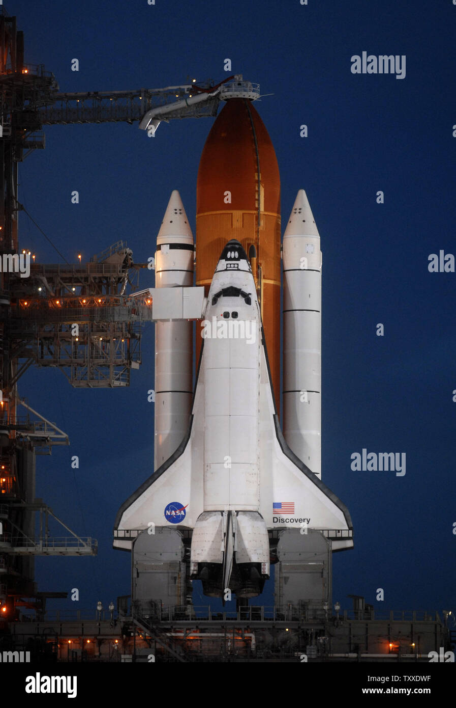 NASA's Space Shuttle Discovery sits poised for launch on