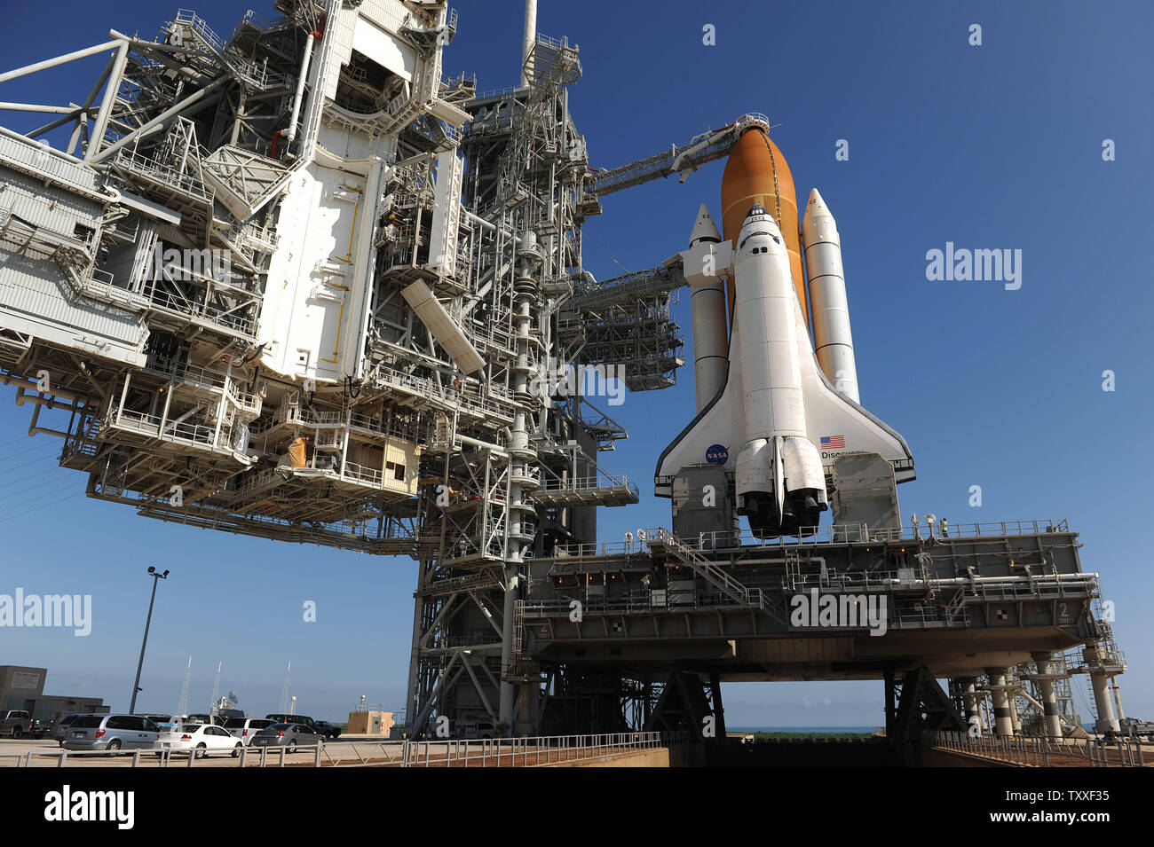 A timed exposure of the Space Shuttle STS-1 8x10 Photo at Launch Pad A