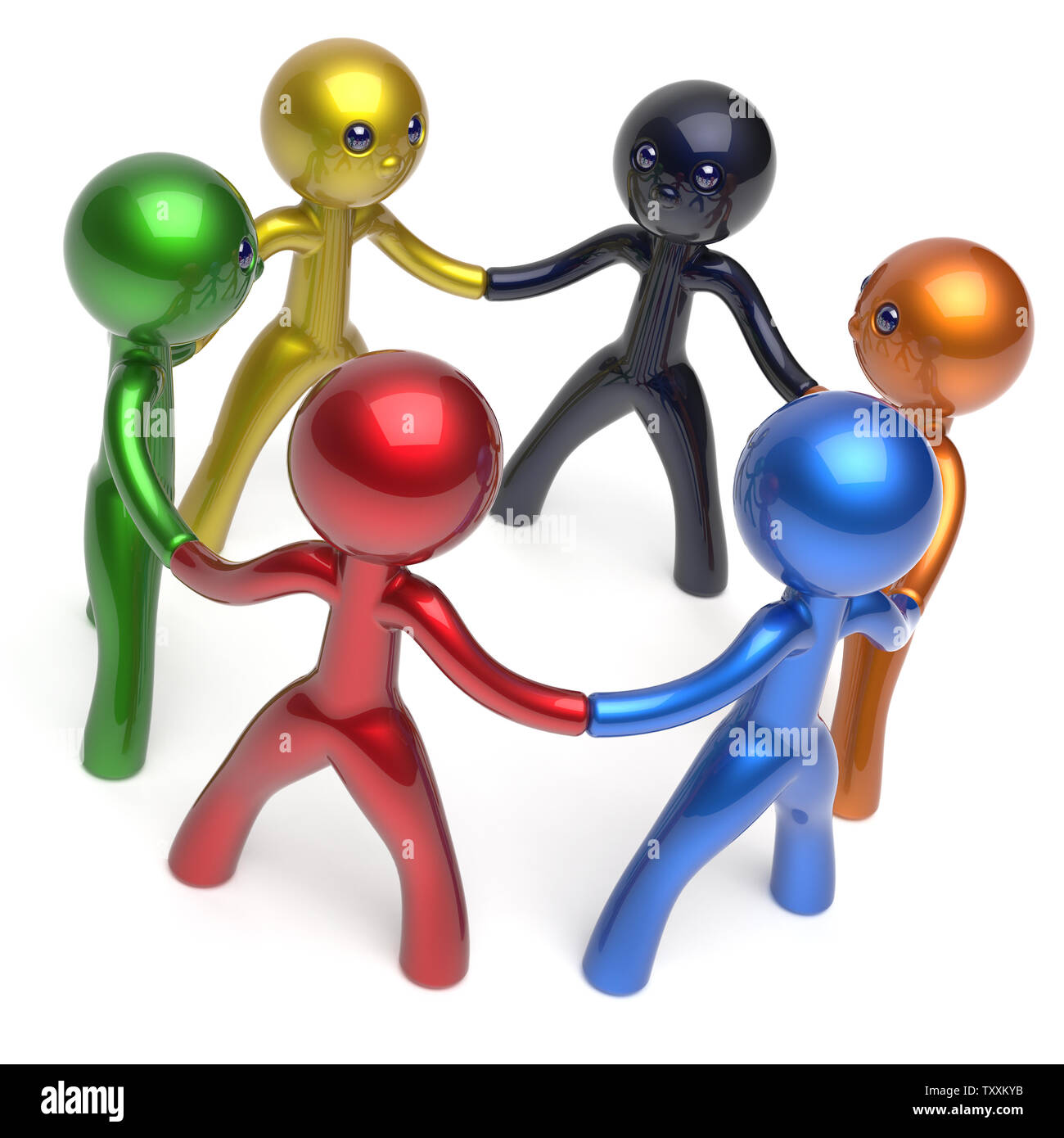 Social network characters teamwork human resources circle people