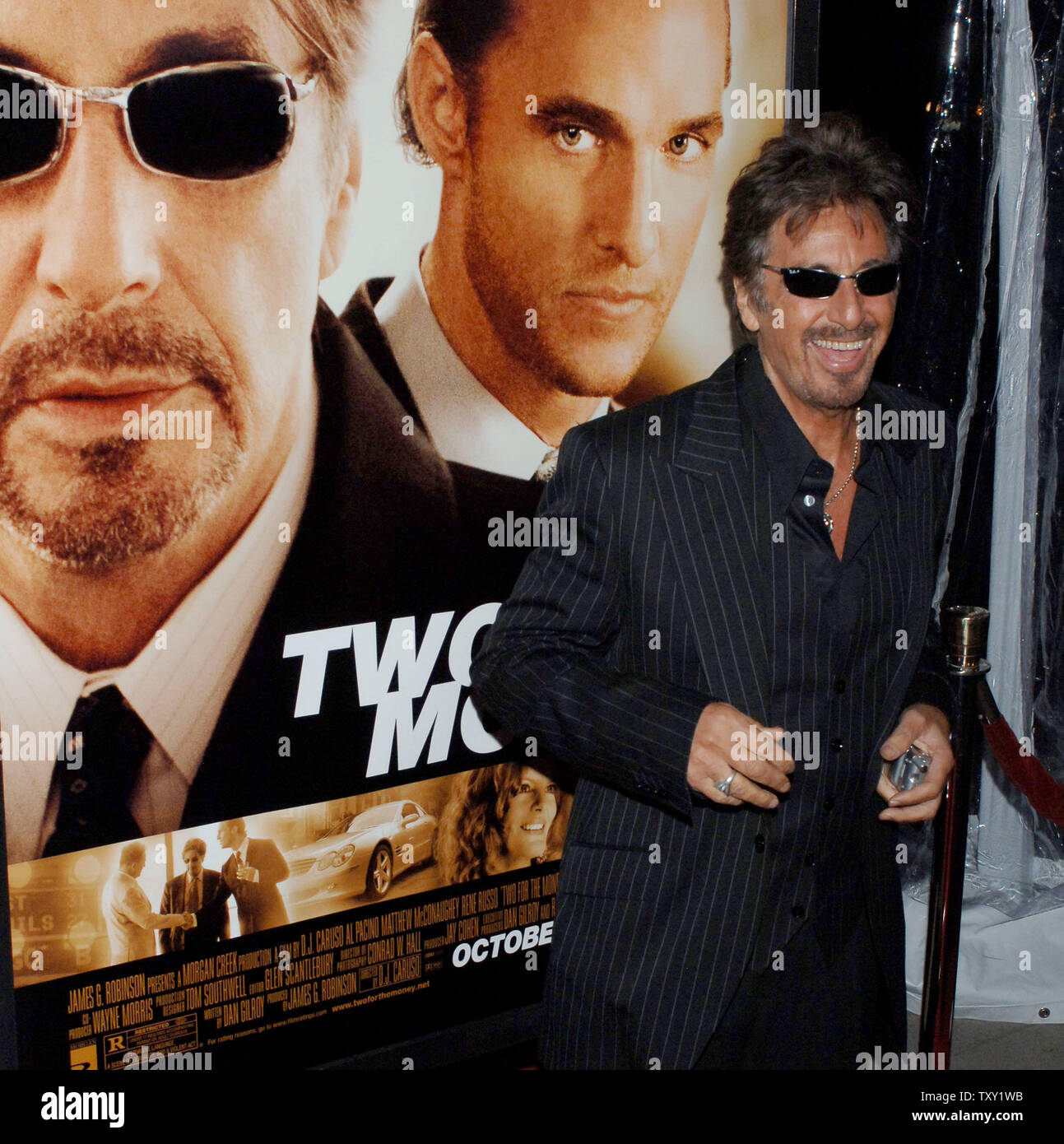 """Actor Al Pacino, one of the stars of the new motion picture """"Two for the Money"""", arrives for the film's premiere in Beverly Hills September 26, 2005. The film also stars Matthew McConaughey, Rene Russo and Jaime King and is about a former college football star who suffers a career-ending injury and aligns himself with one of the most renowned bookies in the sports gambling business. The movie opens October 7 in the United States.   (UPI Photo/Jim Ruymen) Stock Photo"""