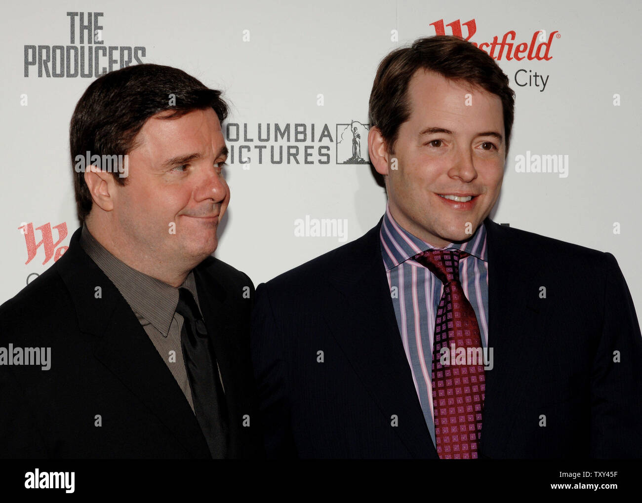 Actors Nathan Lane (L) and Matthew Broderick arrive for the