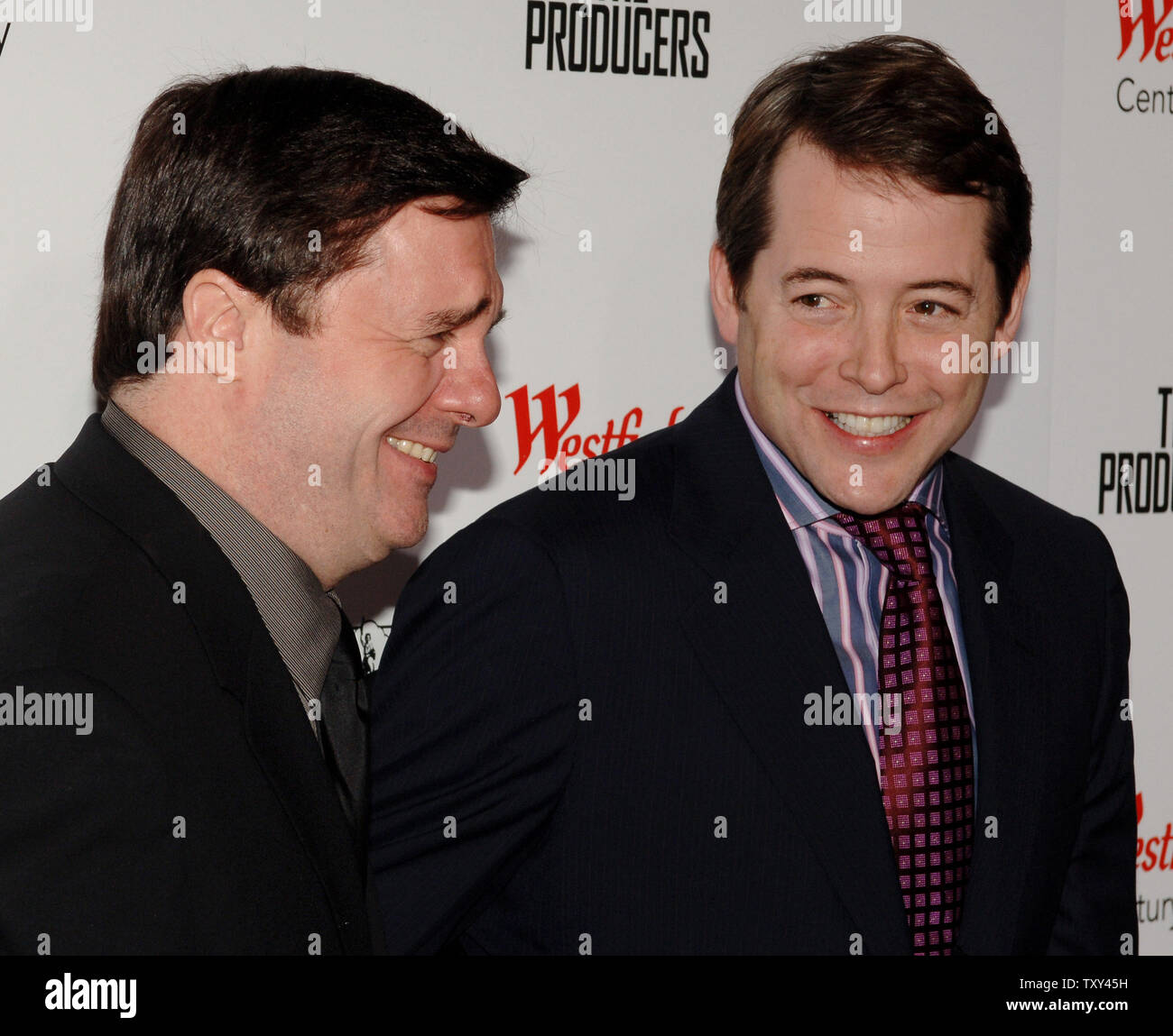 Actors Nathan Lane (L) and Matthew Broderick share a laugh