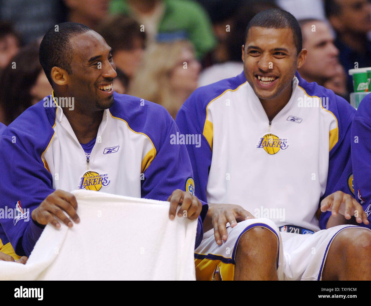 Los Angeles Lakers Guard Kobe Bryant L Shares A Laugh