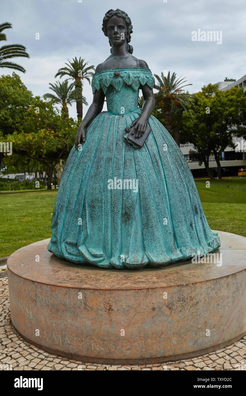 Statue of Imperatriz Sissi, in the Pestana Casino Park Hotel Garden, Funchal, Madeira, Portugal, Stock Photo