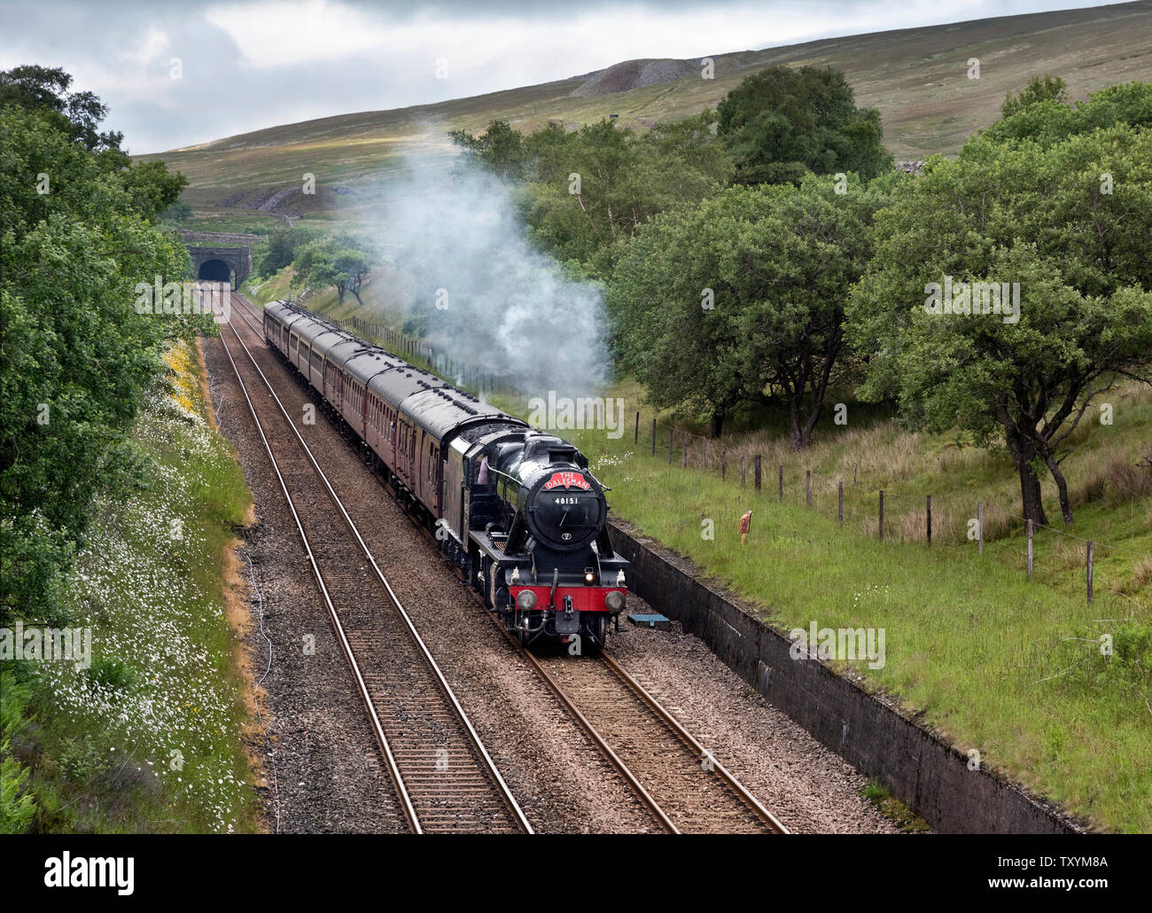 Ribblehead, North Yorkshire, UK. 25th June, 2019. 'The Dalesman' steam excursion from Chester to Carlisle and return. Seen here on the return journey from Carlisle, emerging from Blea Moor tunnel on the Settle-Carlisle railway line, Ribblehead, North Yorkshire. Spoil heaps and vents from Blea Moor tunnel can be seen above the tunnel entrance and also further up on the hillside. The train is hauled by a 1940s Stanier Class 8F locomotive. Credit: John Bentley/Alamy Live News - Stock Image