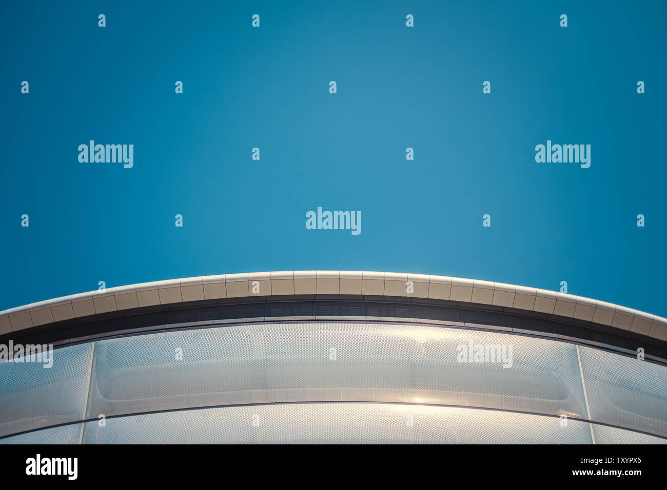 Abstract Detail Of A Curved Section Of A Contemporary Modernist Building With Copy Space Stock Photo