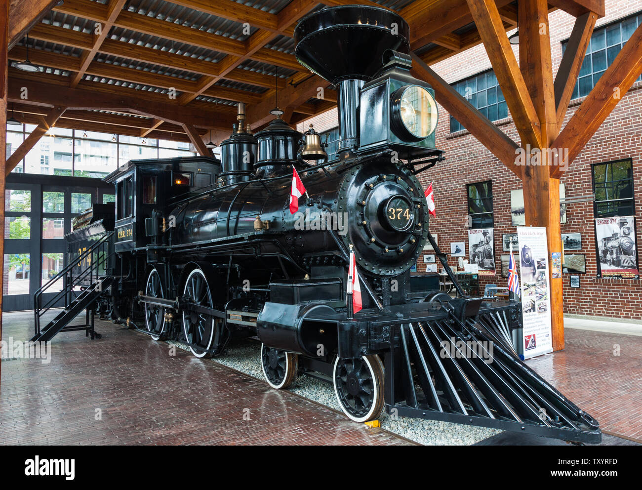 Restored locomotive No 374 of the Canadian Pacific Railway which was the first train to carry passengers from Montreal to Vancouver arriving on May 23 Stock Photo