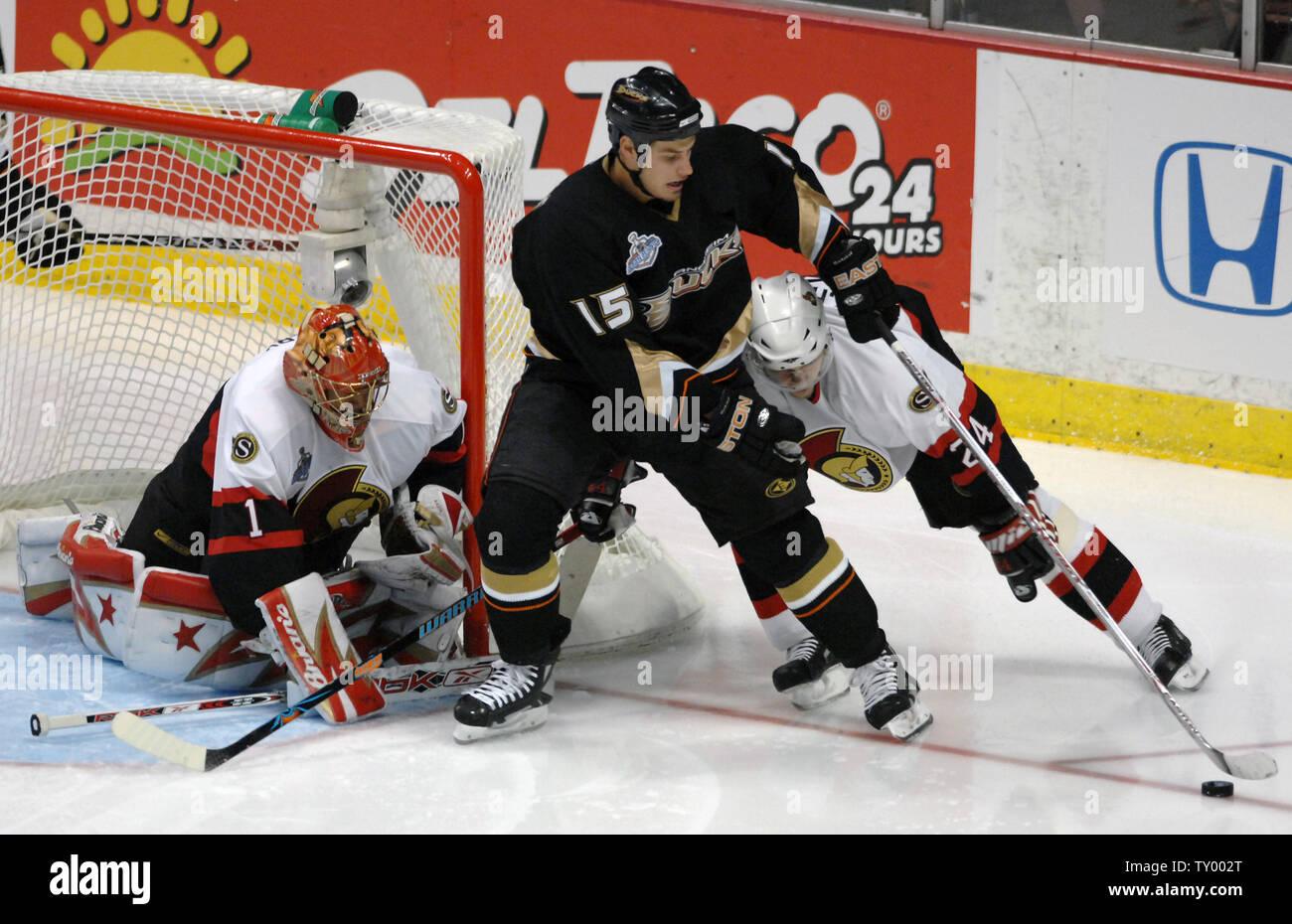 Ottawa Senators' Anton Volchenkov (24) of Russia and Anaheim