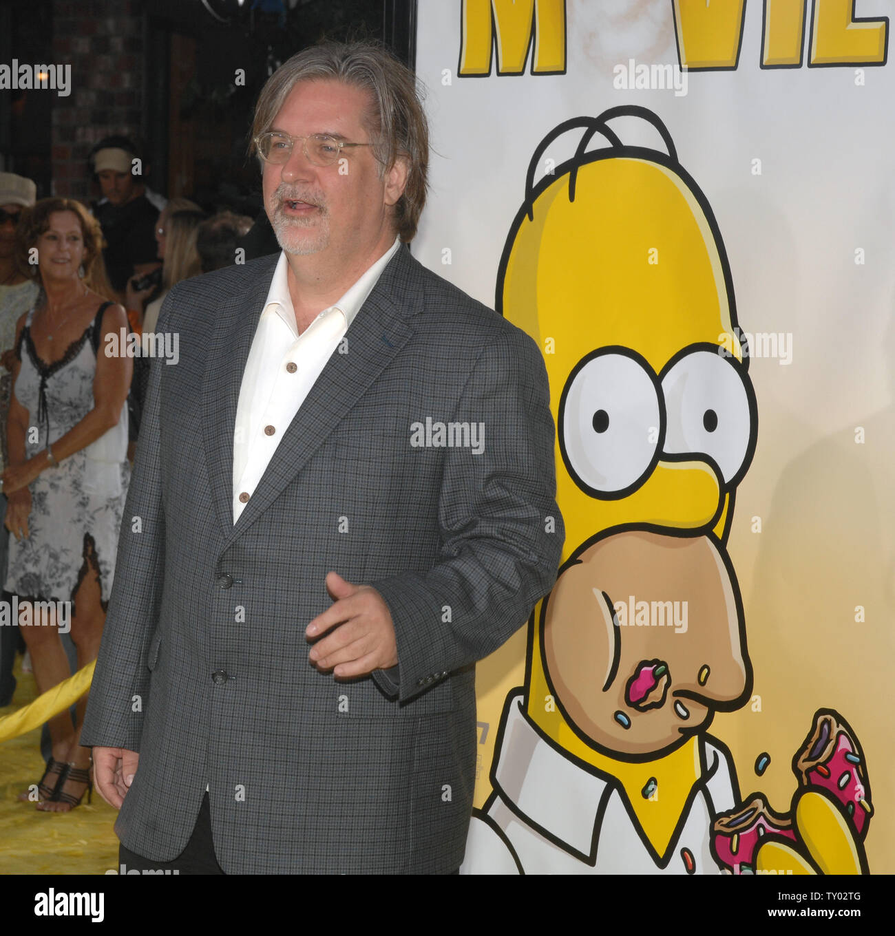 Matt Groening The Creator Of The Television Series The Simpsons Arrives At The Premiere Of The Animated Motion Picture Comedy The Simpsons Movie In The Westwood Section Of Los Angeles On July