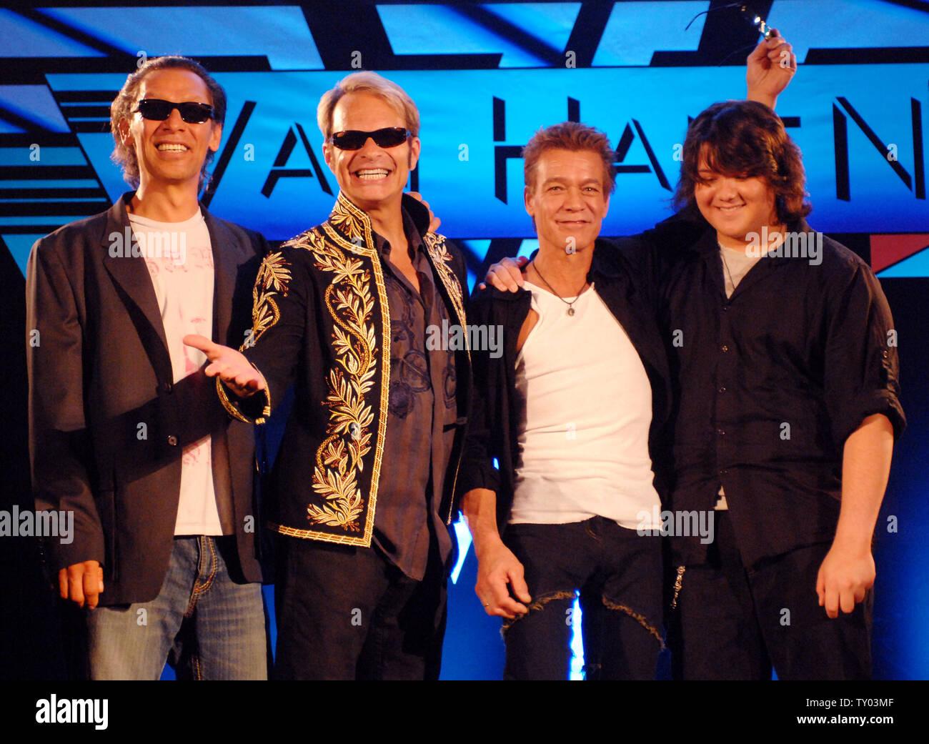 Members Of The Rock Group Van Halen Left To Right Alex Van Halen David Lee Roth Eddie Van Halen And Eddie S Son Wolfgang Van Halen Attend A News Conference To Officially Announce