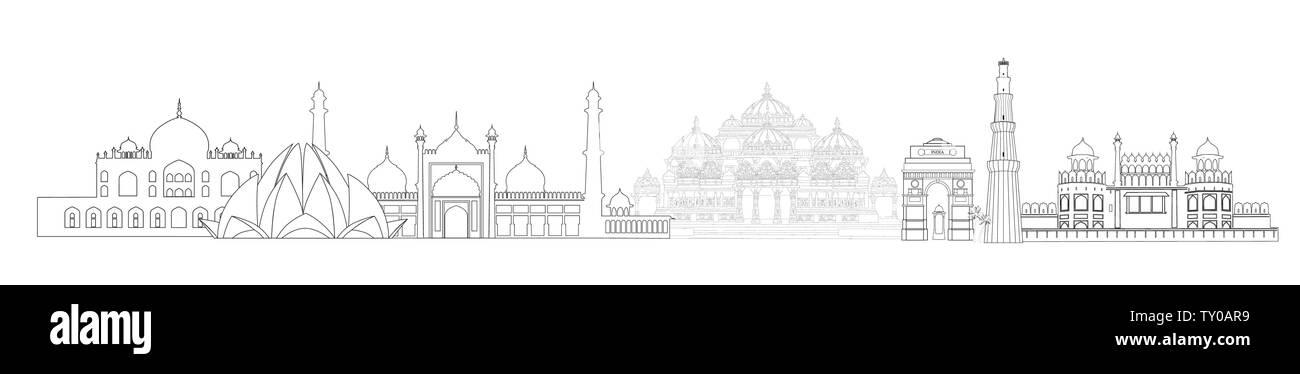 India, Delhi landmarks. Indian city New-Delhi travel skyline view - Stock Vector