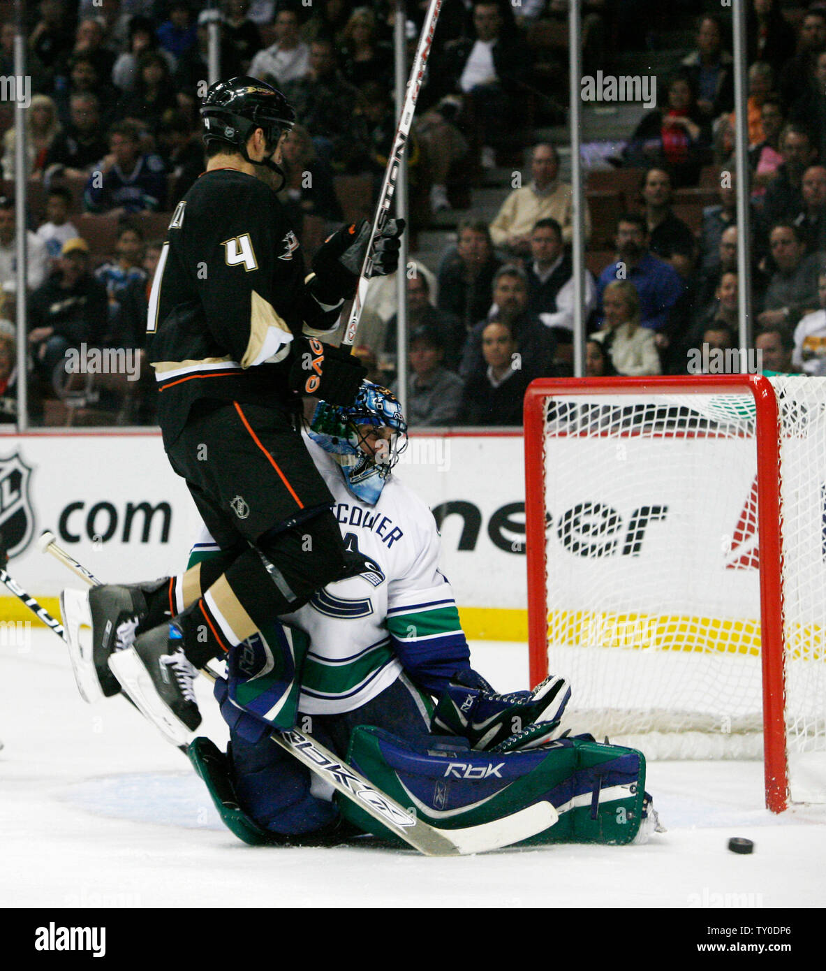Anaheim Ducks Right Winger Todd Bertuzzi Leaps And Crashes Into